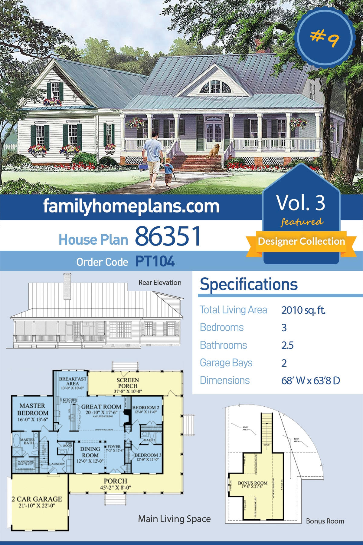 Cottage, Country, Farmhouse, Southern House Plan 86351 with 3 Beds, 3 Baths, 2 Car Garage