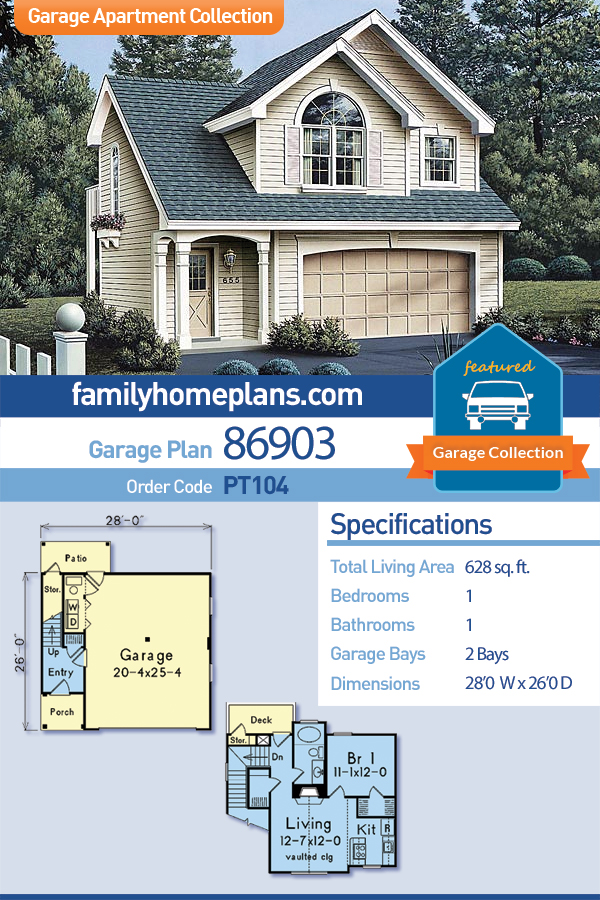 Country, European, Traditional 2 Car Garage Apartment Plan 86903 with 1 Beds, 1 Baths