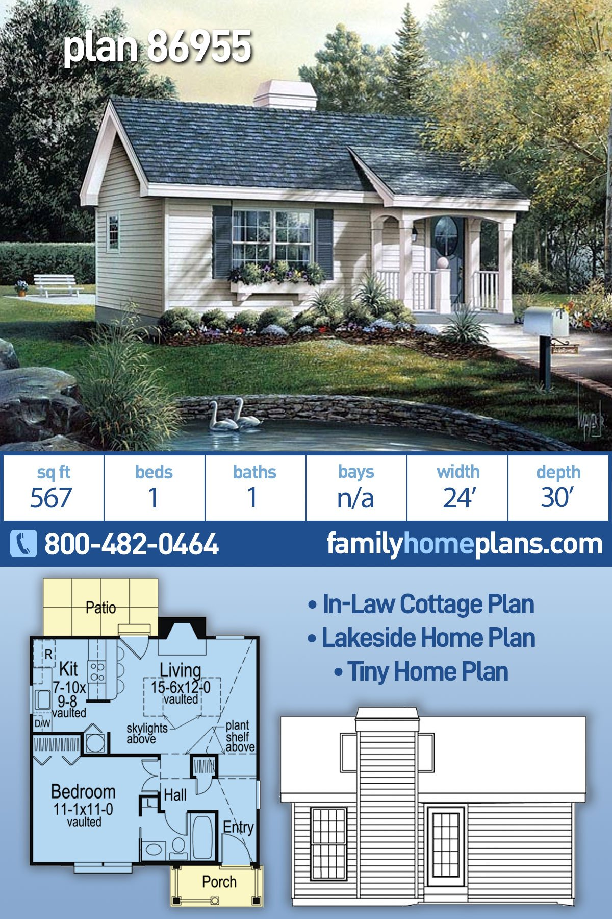 Cabin, Colonial, Cottage, Country, Ranch House Plan 86955 with 1 Beds, 1 Baths