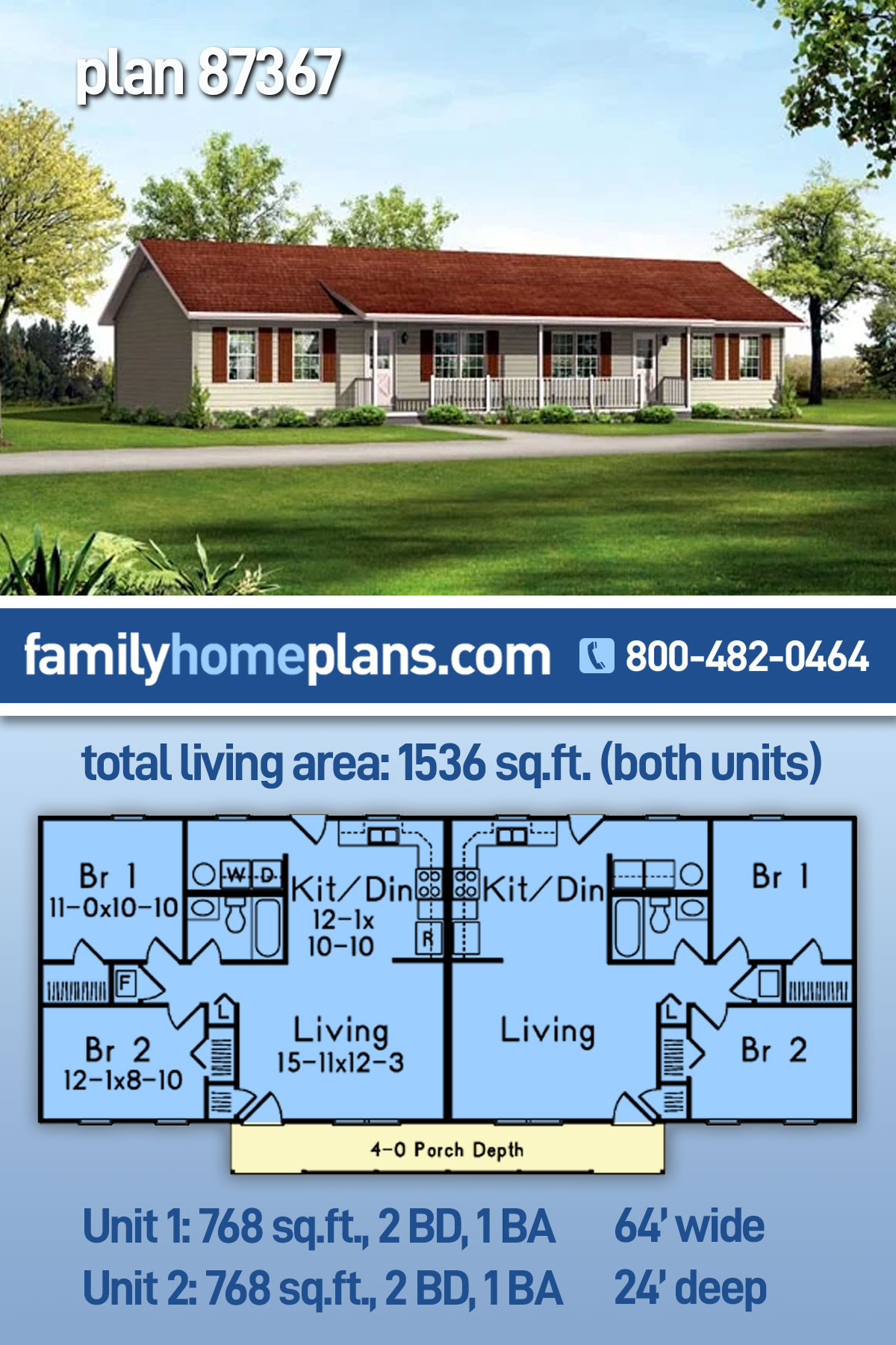 Ranch Multi-Family Plan 87367 with 4 Beds, 2 Baths