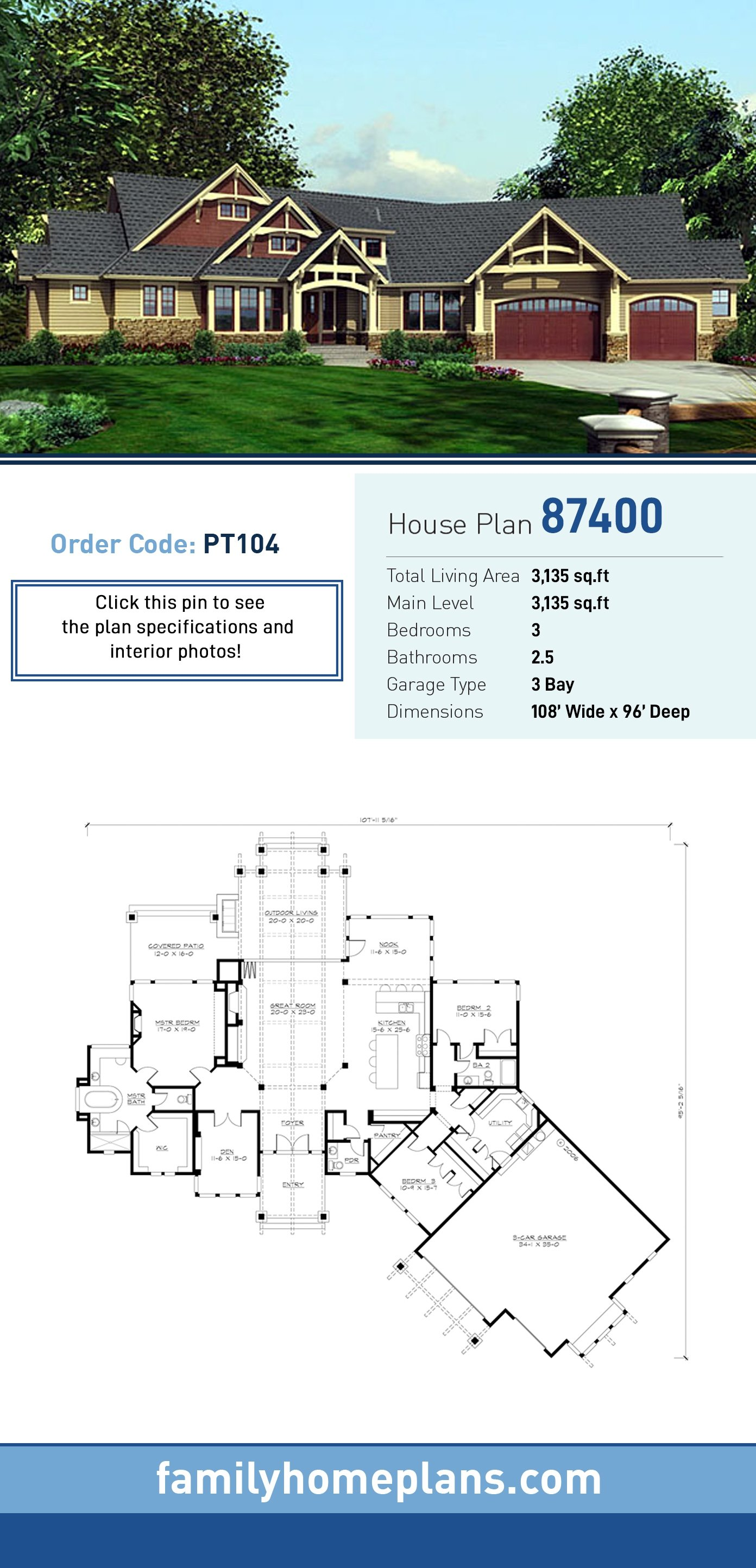 Craftsman House Plan 87400 with 3 Beds , 3 Baths , 3 Car Garage