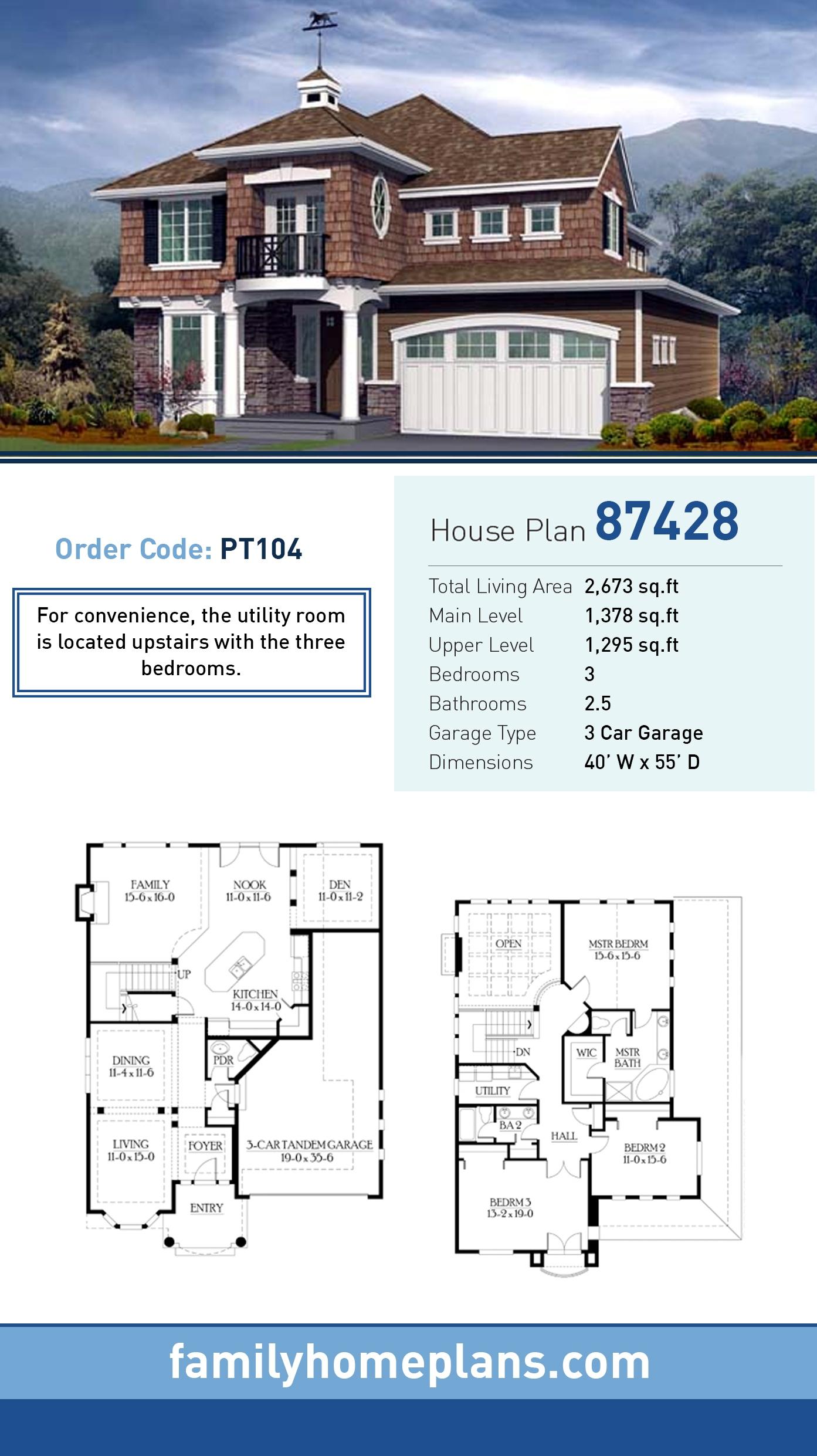 Craftsman House Plan 87428 with 3 Beds, 3 Baths, 3 Car Garage