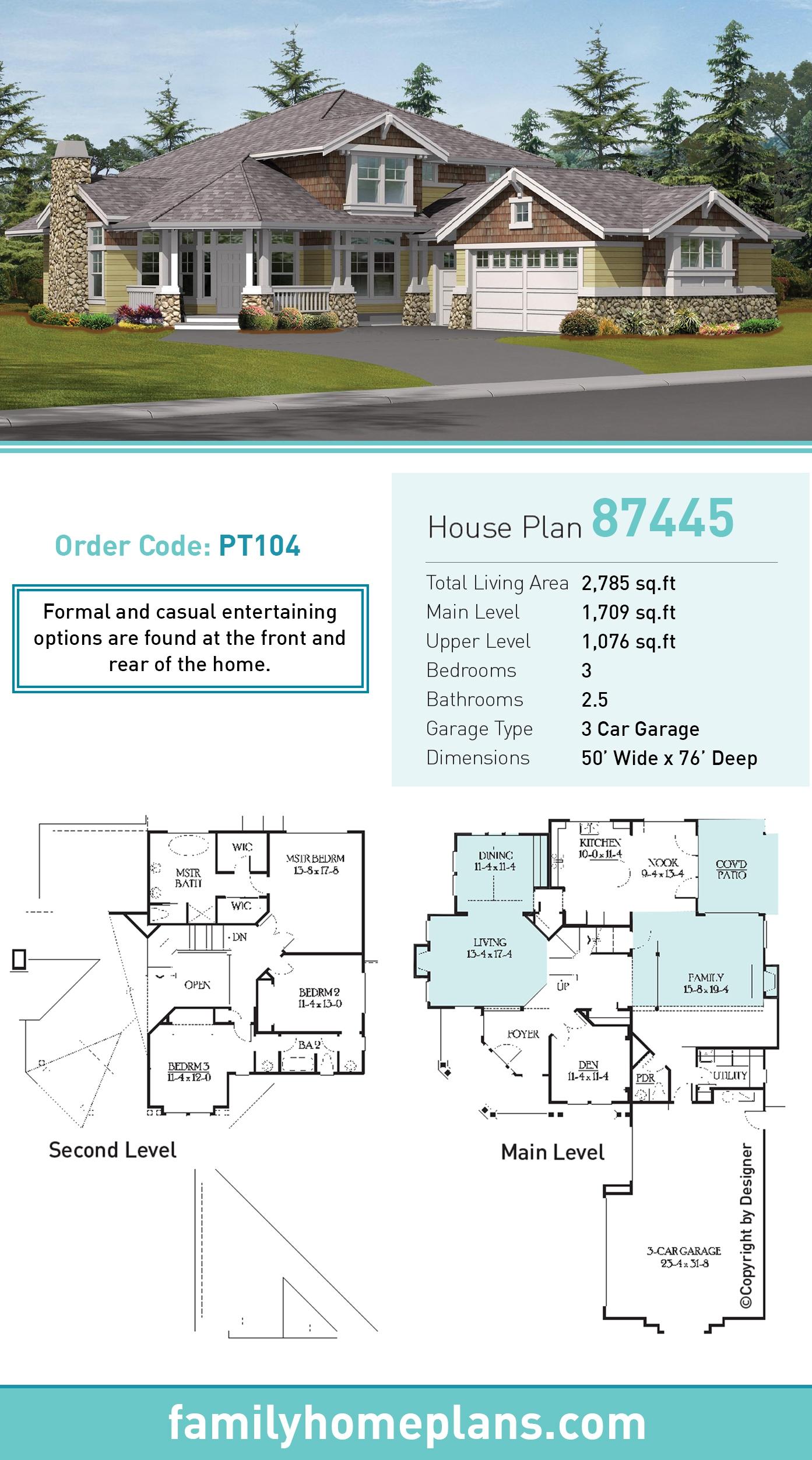 Craftsman House Plan 87445 with 3 Beds, 3 Baths, 3 Car Garage