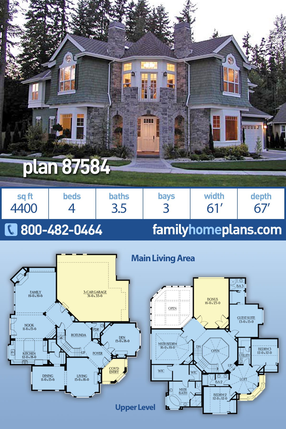 Cape Cod, Craftsman, Victorian House Plan 87584 with 4 Beds , 4 Baths , 3 Car Garage