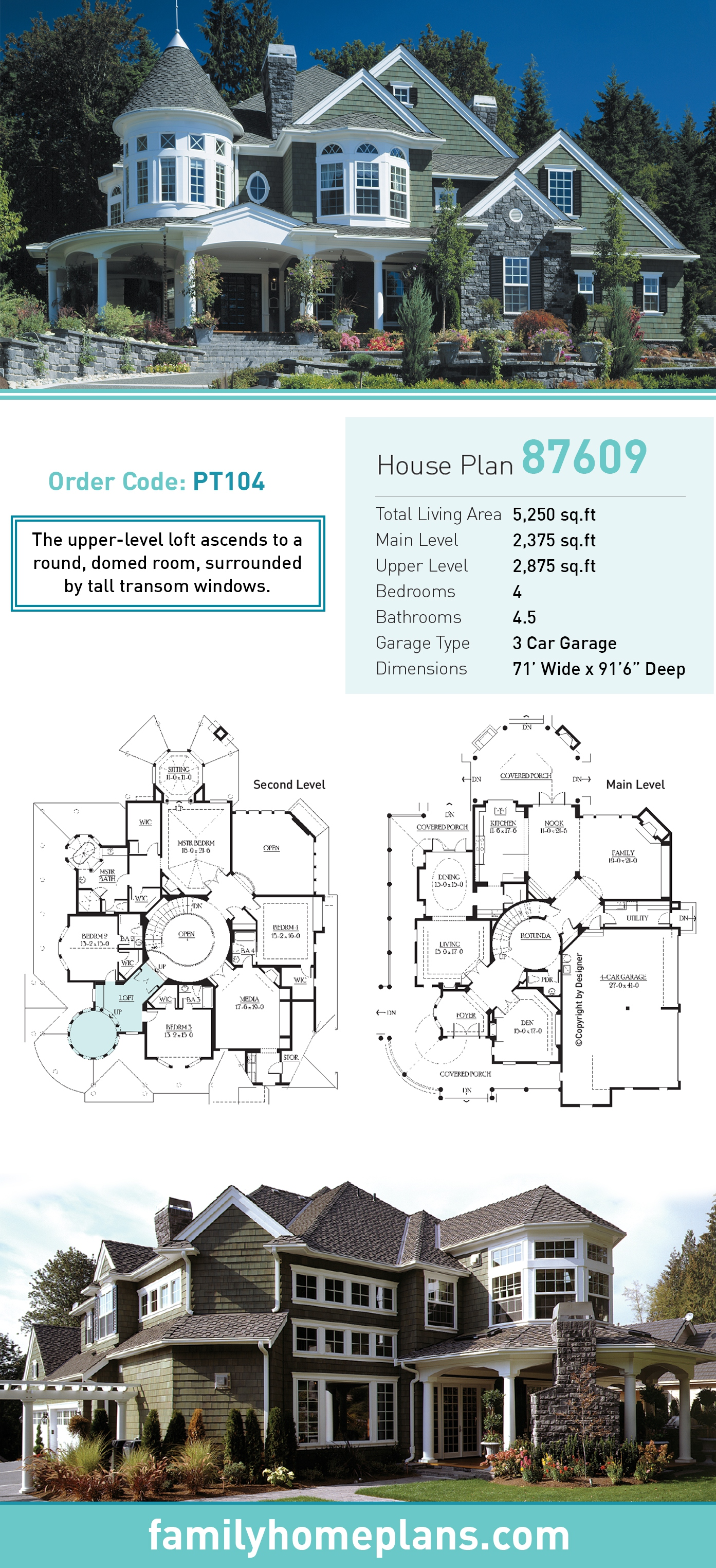 Farmhouse, Victorian House Plan 87609 with 4 Beds, 5 Baths, 3 Car Garage