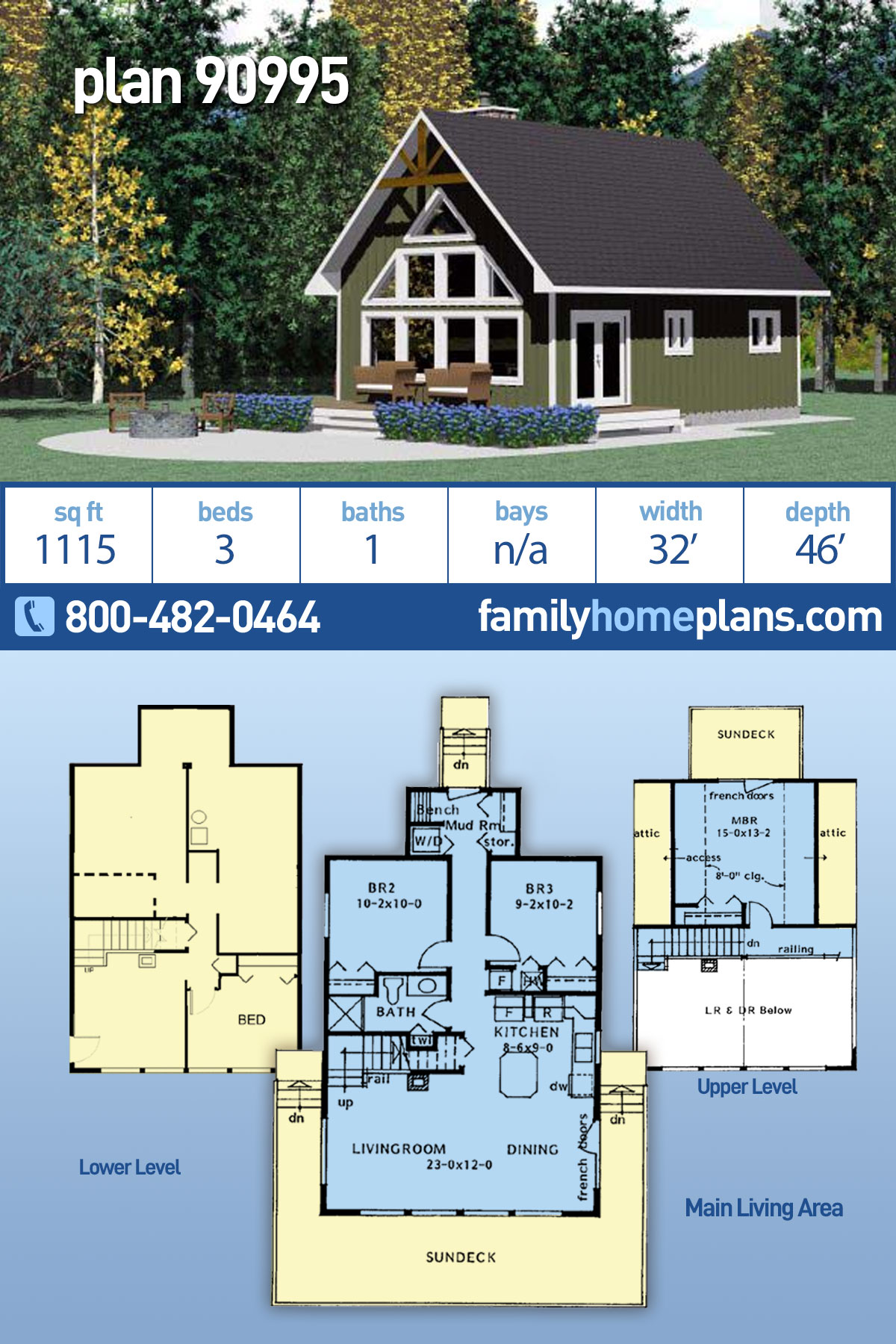 Cabin, Contemporary, Cottage House Plan 90995 with 3 Beds , 1 Baths