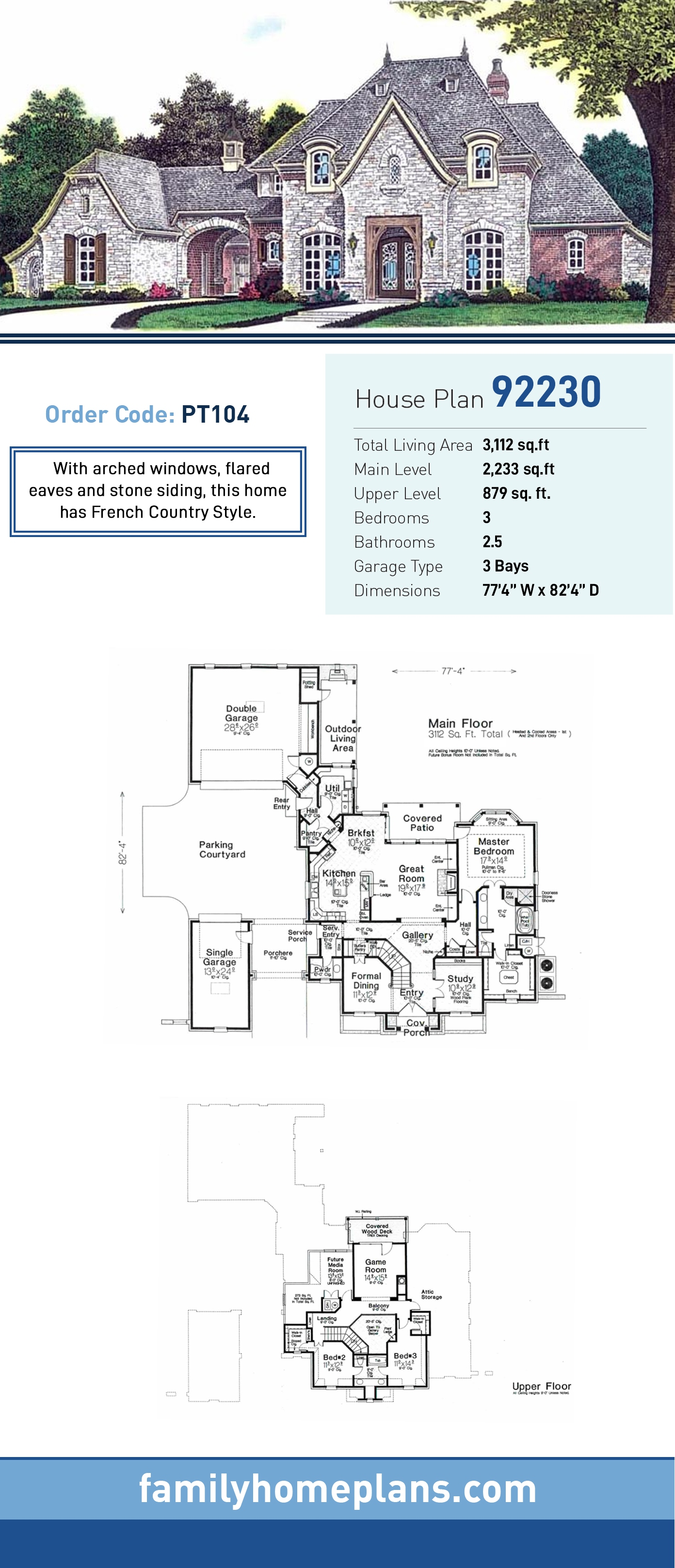 European, French Country House Plan 92230 with 3 Beds, 3 Baths, 3 Car Garage