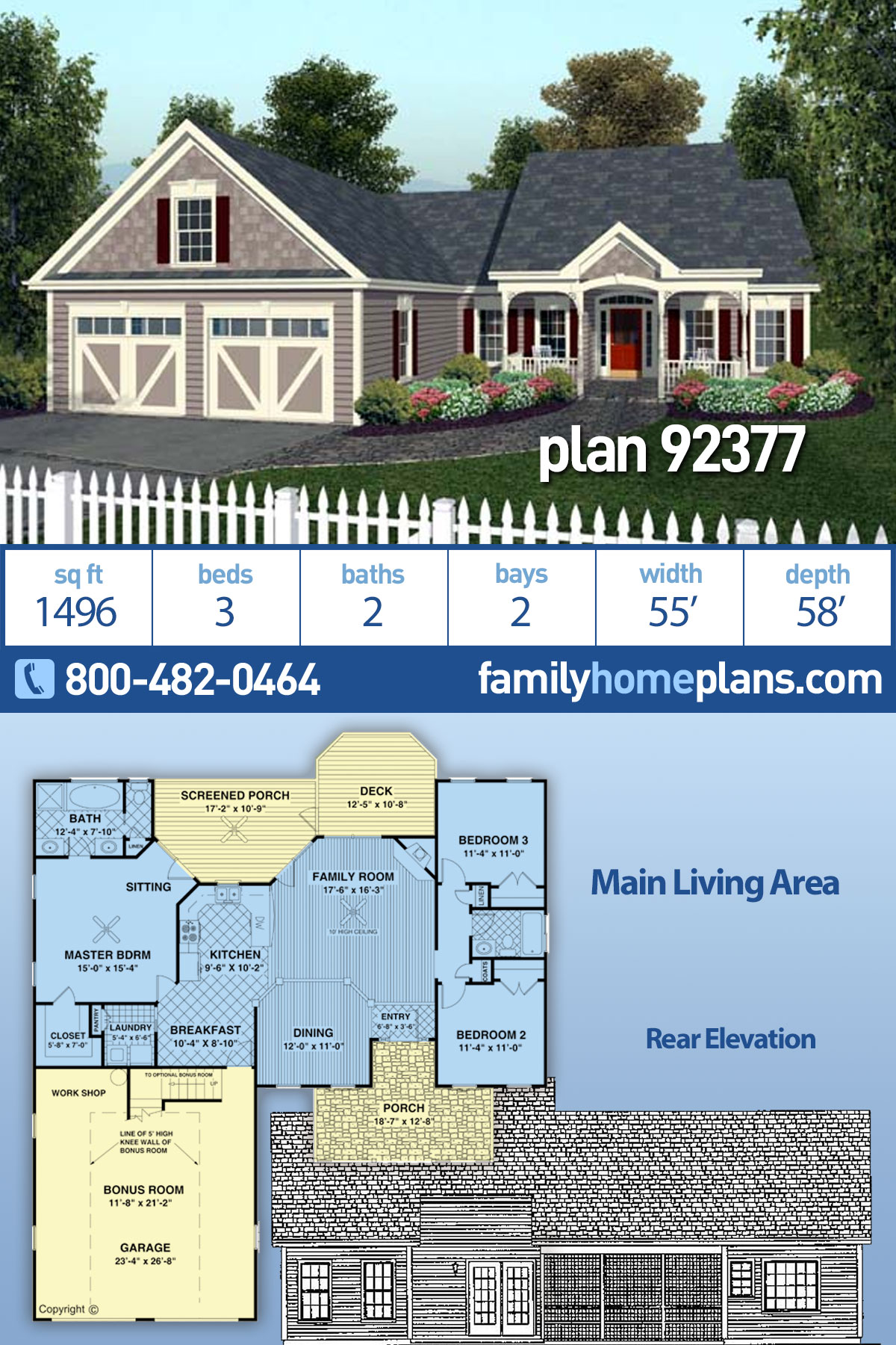 Country , European , Traditional House Plan 92377 with 3 Beds, 2 Baths, 2 Car Garage