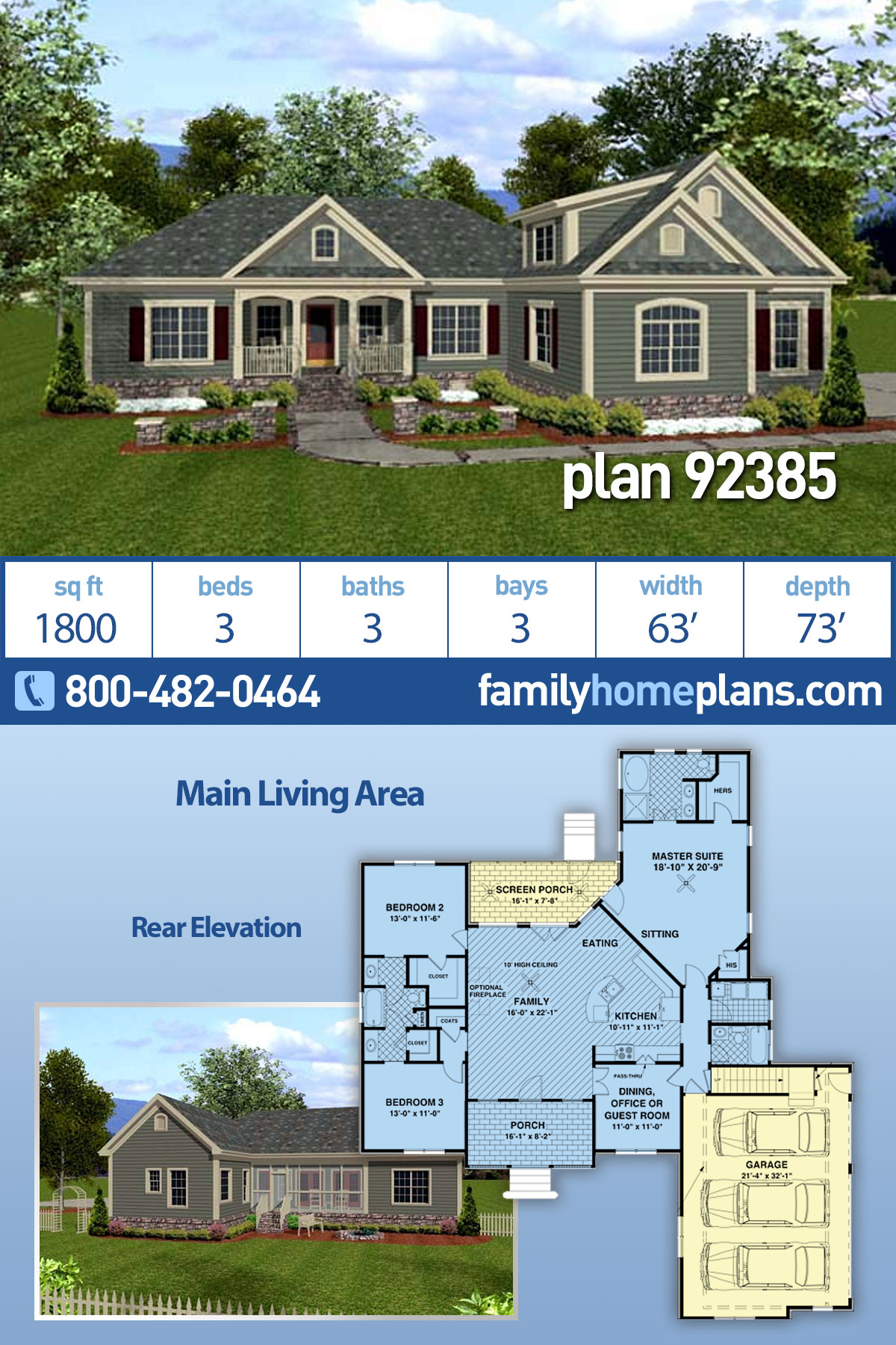 Country, Craftsman House Plan 92385 with 3 Beds , 3 Baths , 3 Car Garage