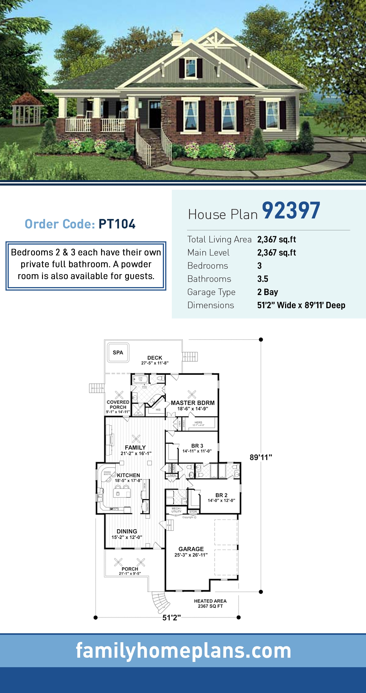 Cottage, Craftsman, Southern House Plan 92397 with 3 Beds, 4 Baths, 2 Car Garage