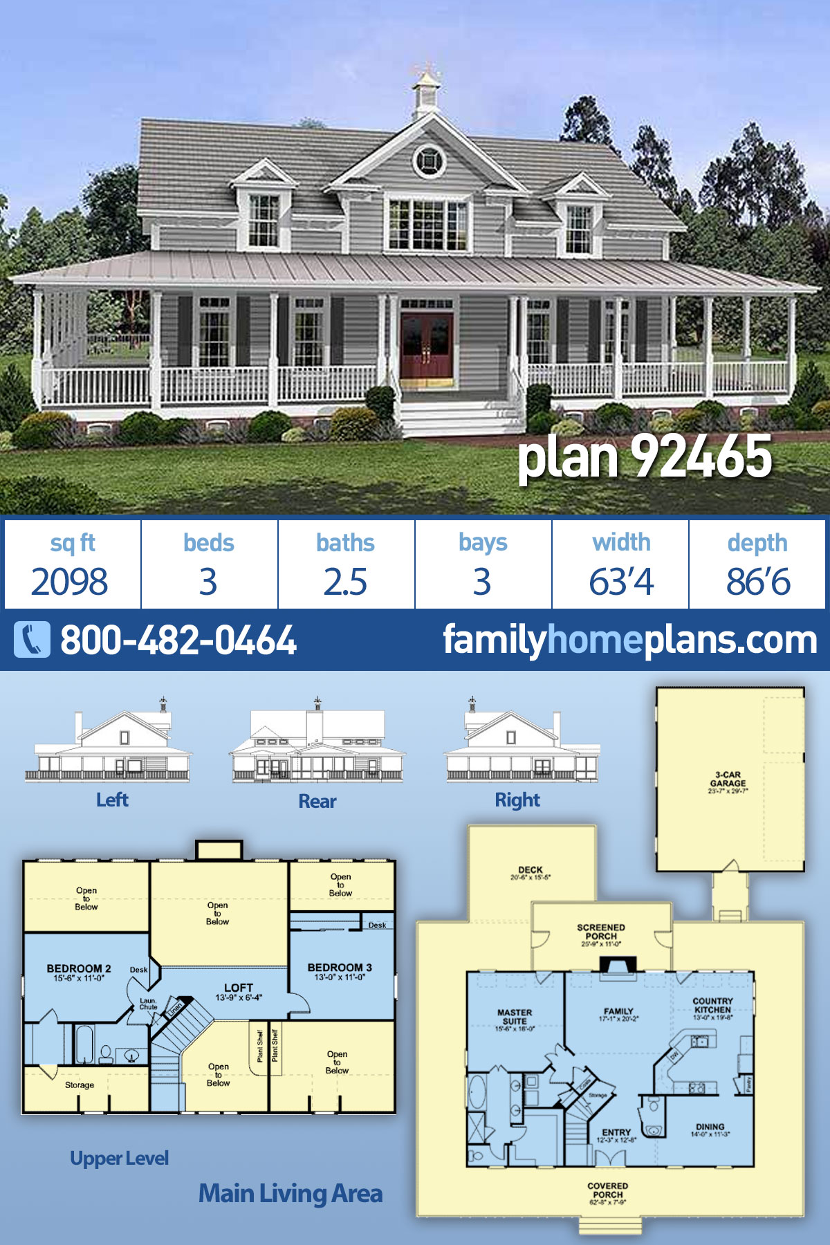 Country, Farmhouse, Southern House Plan 92465 with 3 Beds, 3 Baths, 3 Car Garage