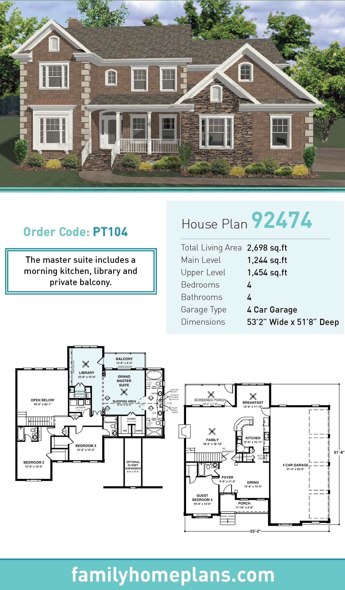 Traditional , Tudor House Plan 92474 with 4 Beds, 4 Baths, 4 Car Garage