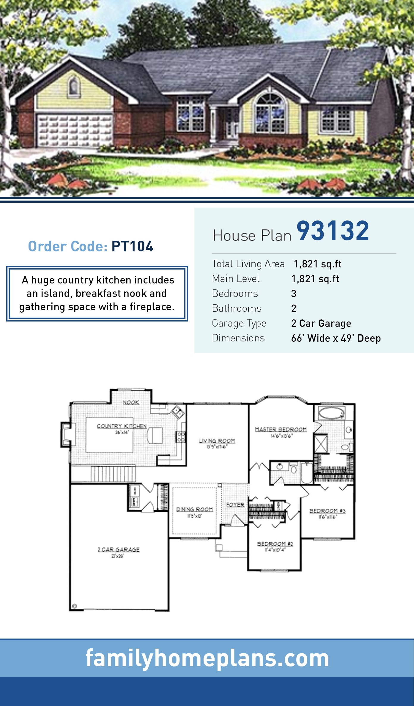 Ranch House Plan 93132 with 3 Beds, 2 Baths, 2 Car Garage