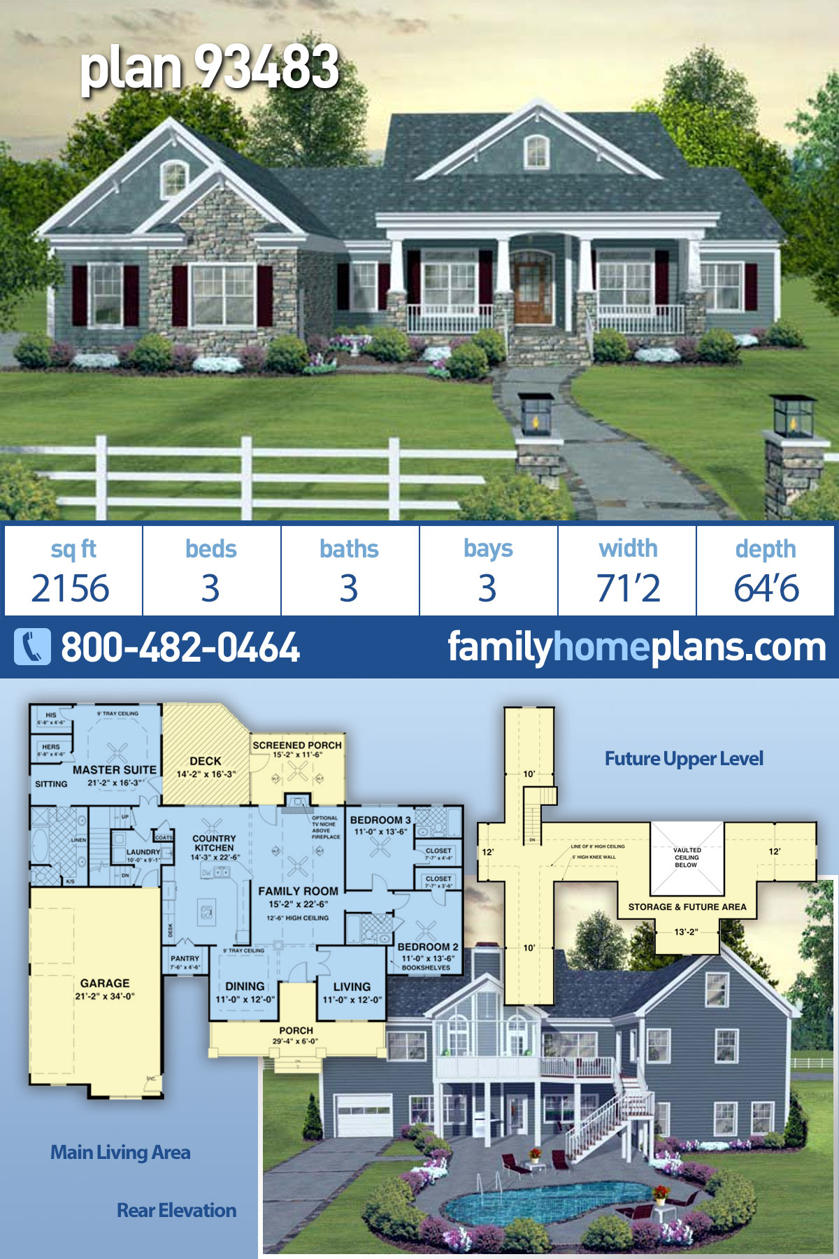 Craftsman, European, Traditional House Plan 93483 with 3 Beds, 3 Baths, 3 Car Garage