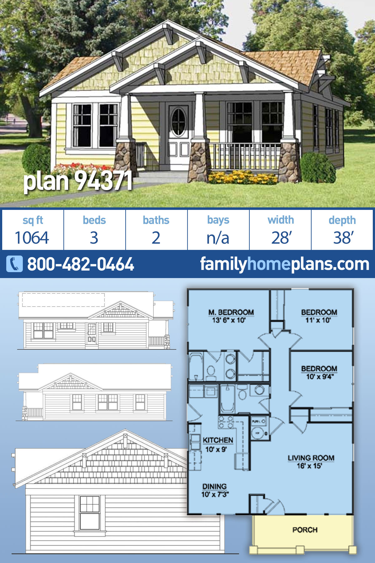 Cottage, Country, Craftsman House Plan 94371 with 3 Beds , 2 Baths