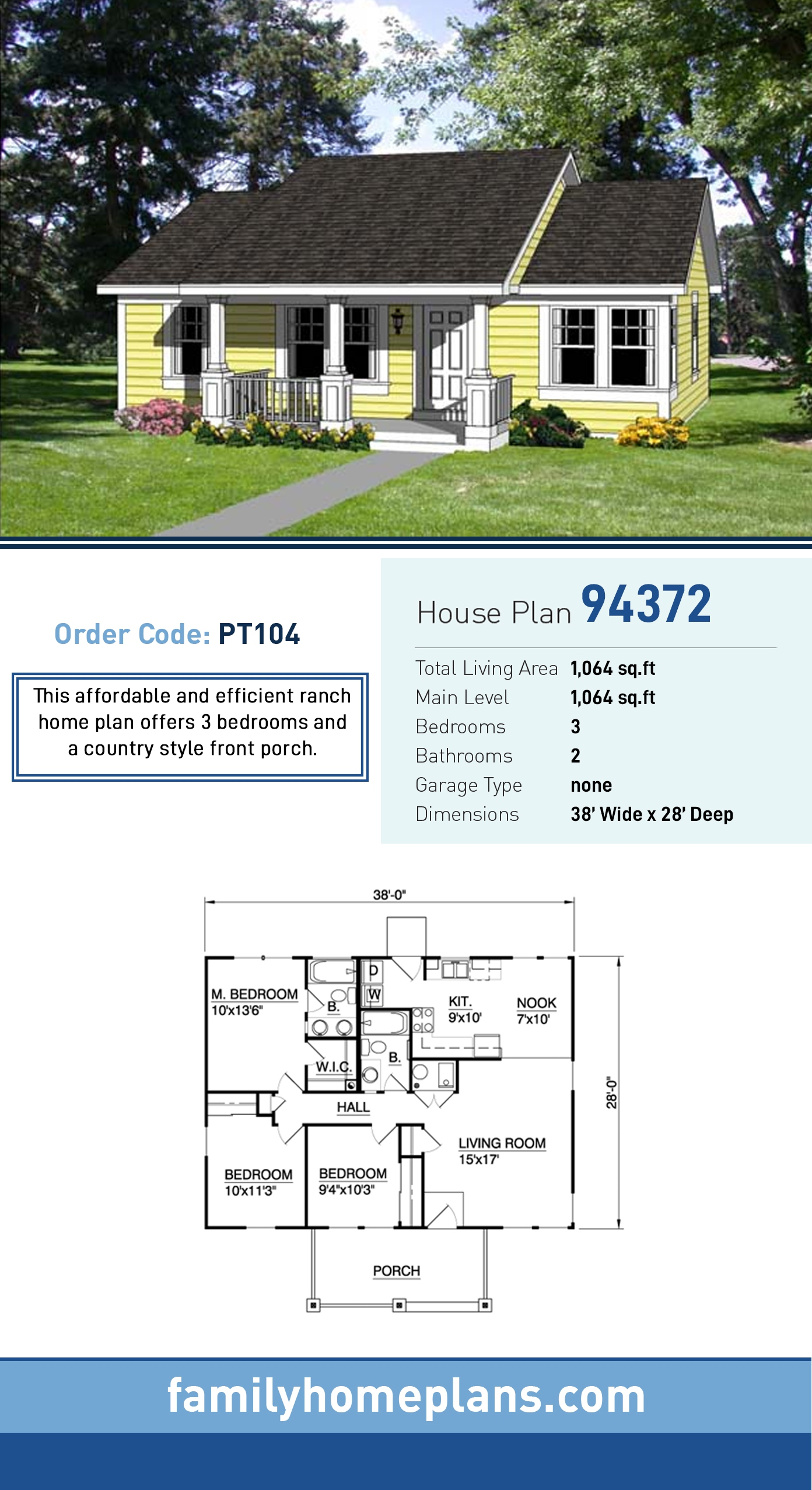 Country, Ranch House Plan 94372 with 3 Beds, 2 Baths