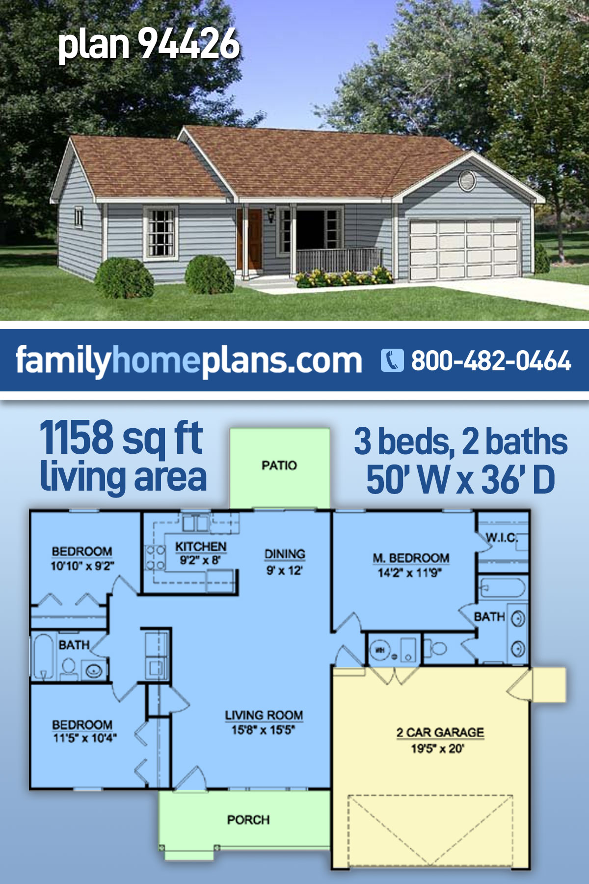 Ranch House Plan 94426 with 3 Beds , 2 Baths , 2 Car Garage