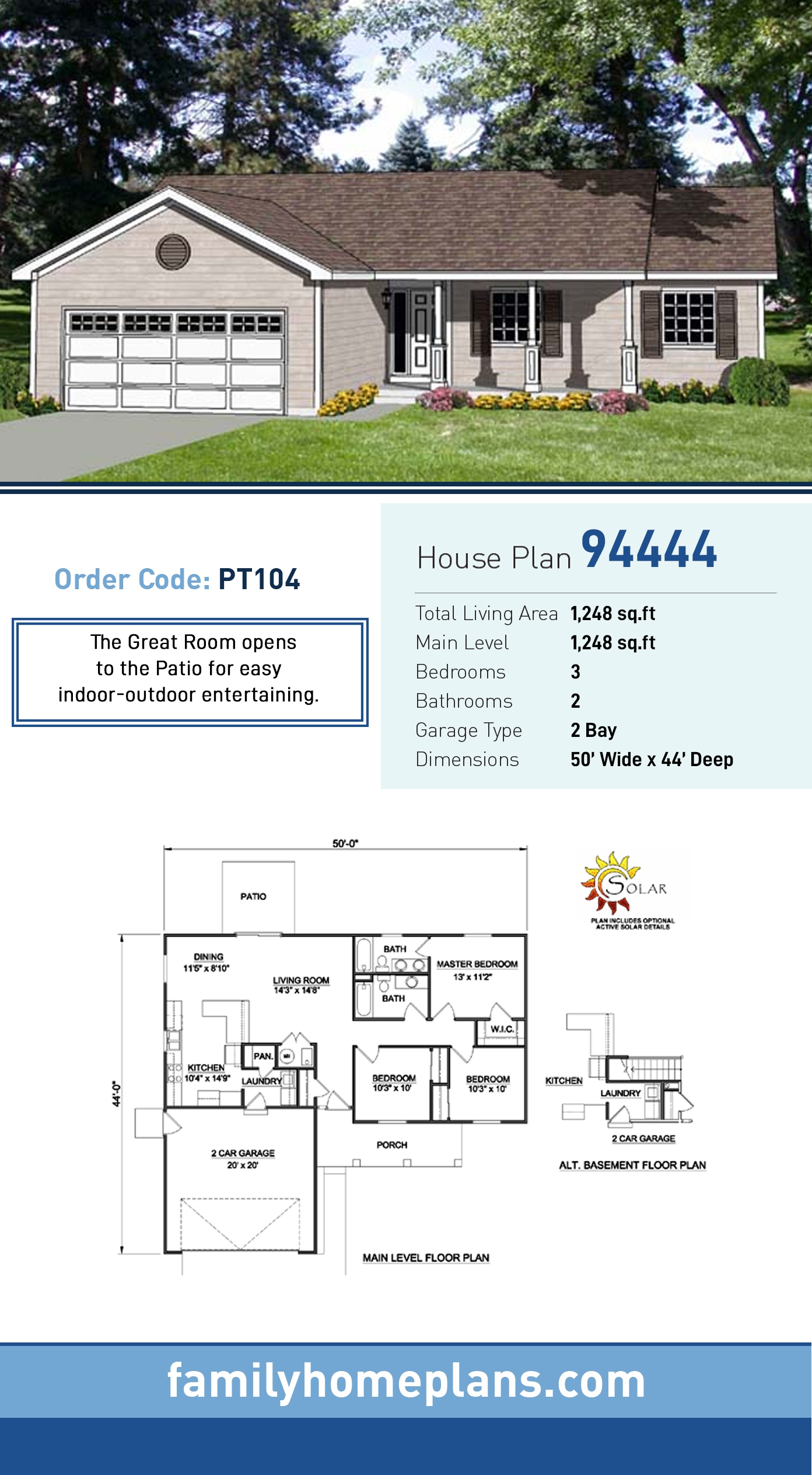 Ranch House Plan 94444 with 3 Beds , 2 Baths , 2 Car Garage