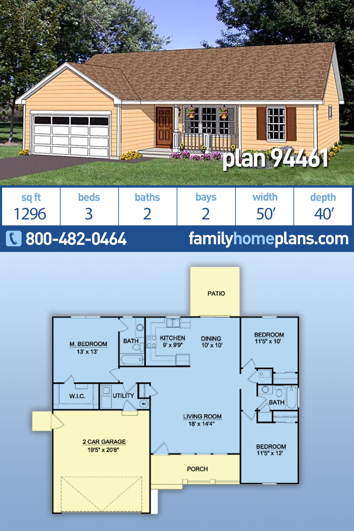 Ranch House Plan 94461 with 3 Beds, 2 Baths, 2 Car Garage