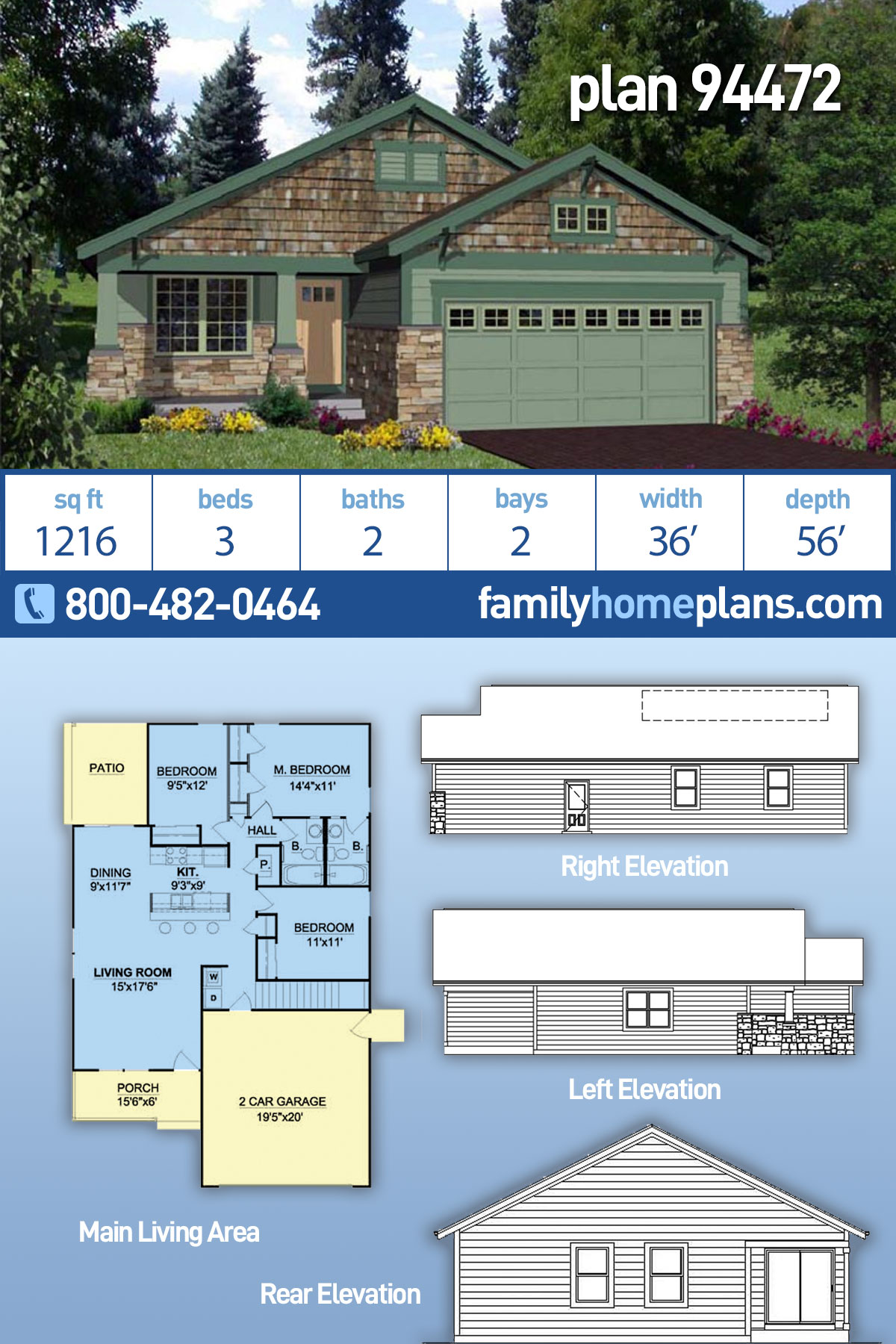 Craftsman House Plan 94472 with 3 Beds, 2 Baths, 2 Car Garage