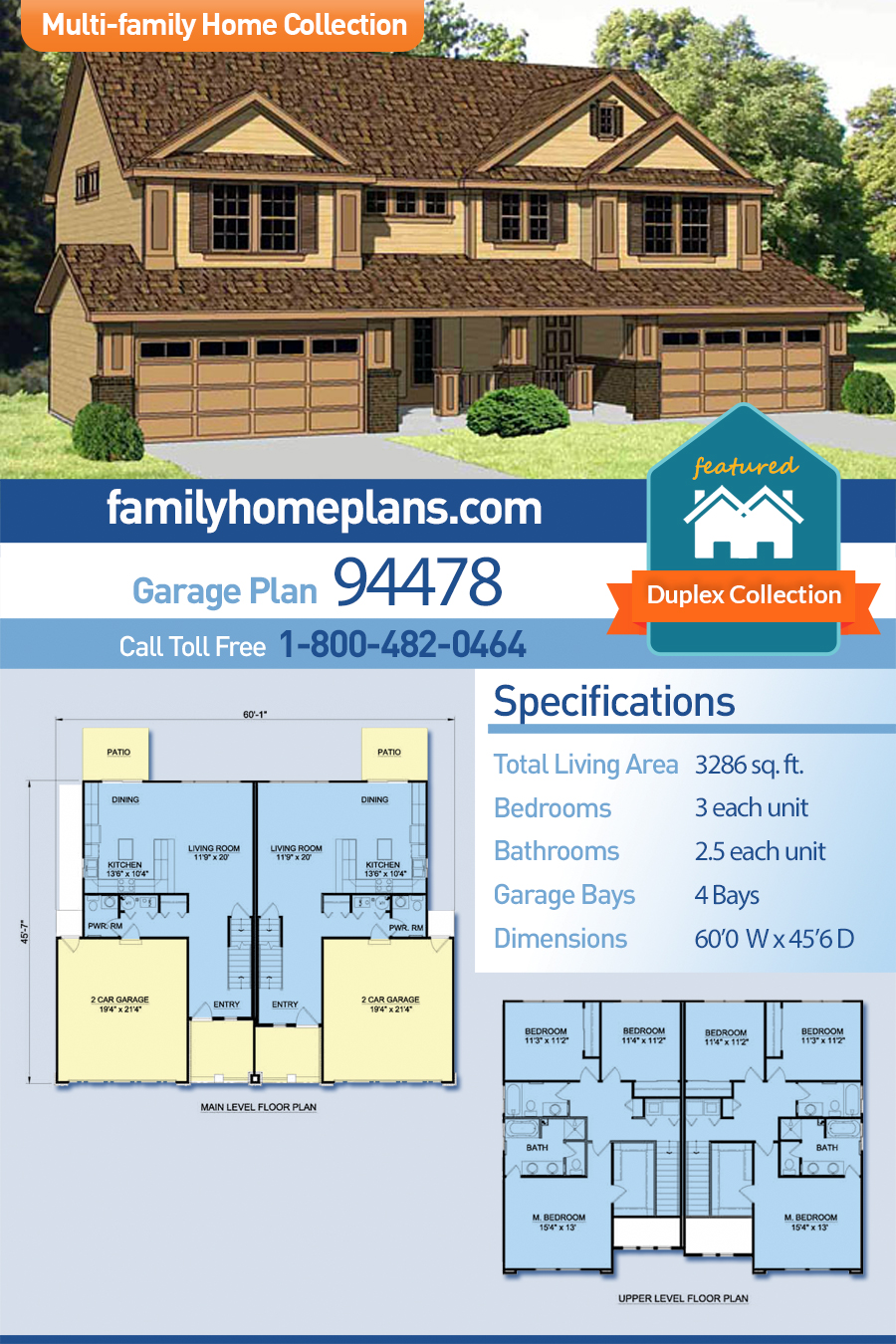 Traditional Multi-Family Plan 94478 with 6 Beds, 6 Baths, 4 Car Garage