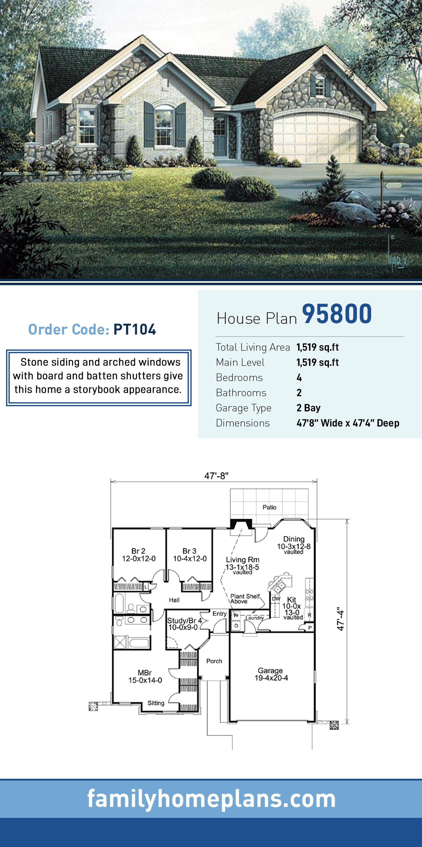 Cottage, Country, Craftsman, Ranch House Plan 95800 with 4 Beds, 2 Baths, 2 Car Garage