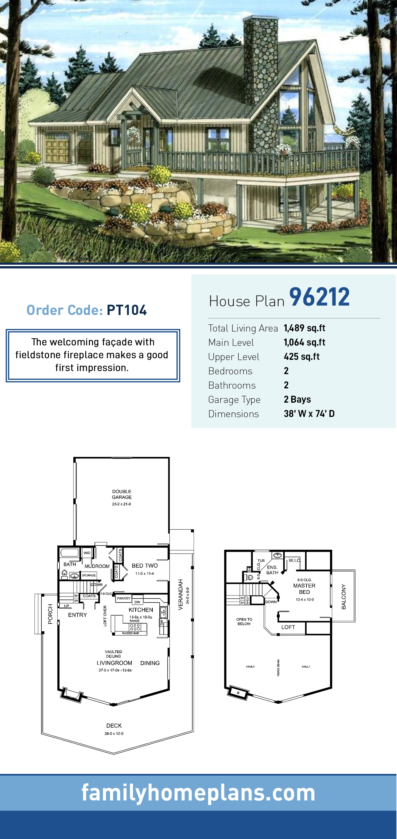 Contemporary House Plan 96212 with 2 Beds, 2 Baths, 2 Car Garage