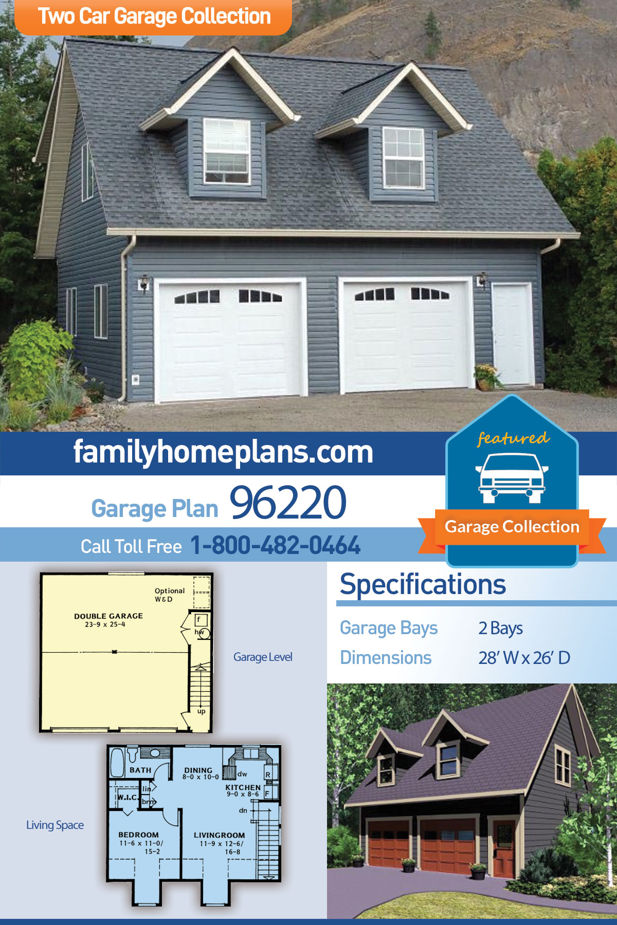 Cape Cod, Traditional 2 Car Garage Apartment Plan 96220 with 1 Beds , 1 Baths