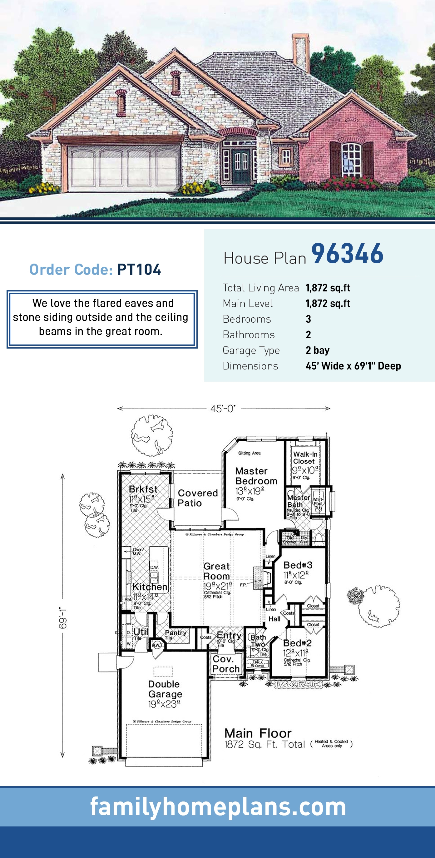 European , French Country , Traditional House Plan 96346 with 3 Beds, 2 Baths, 2 Car Garage