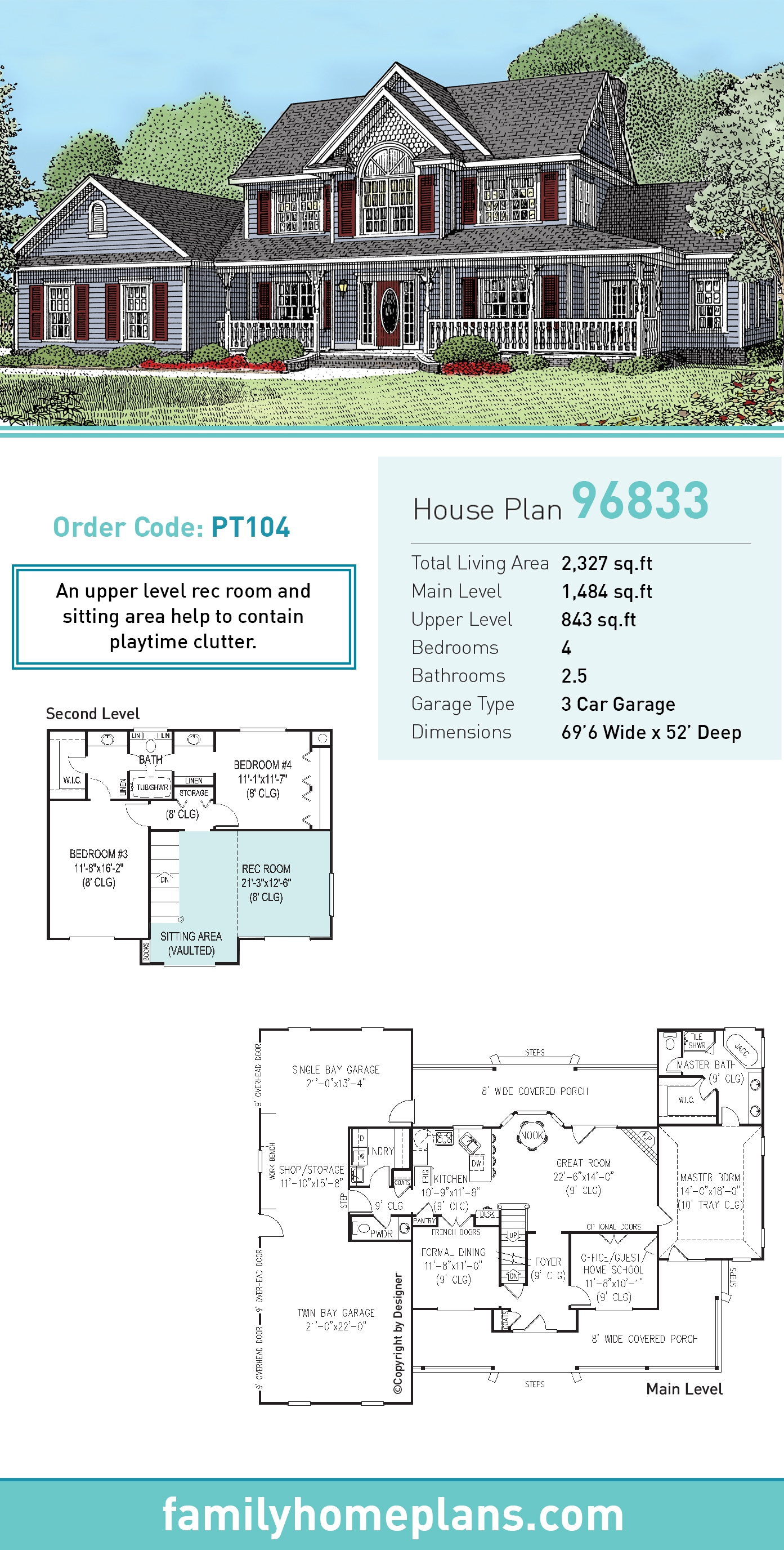 Country, Modern Farmhouse House Plan 96833 with 4 Beds , 3 Baths , 3 Car Garage