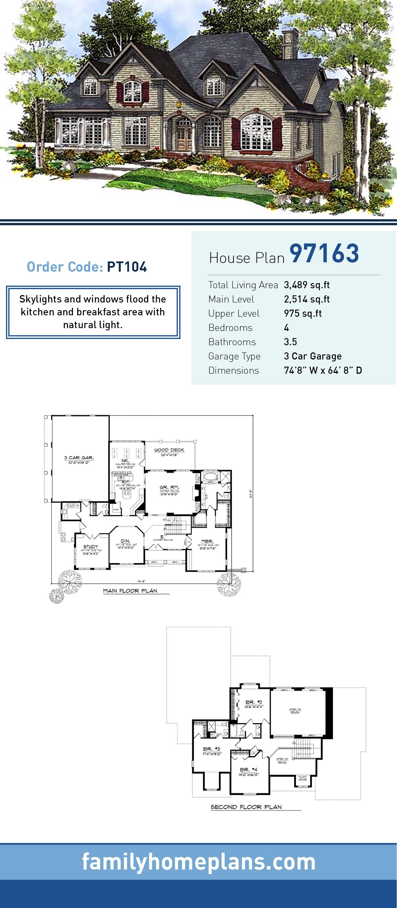 European House Plan 97163 with 4 Beds, 4 Baths, 3 Car Garage