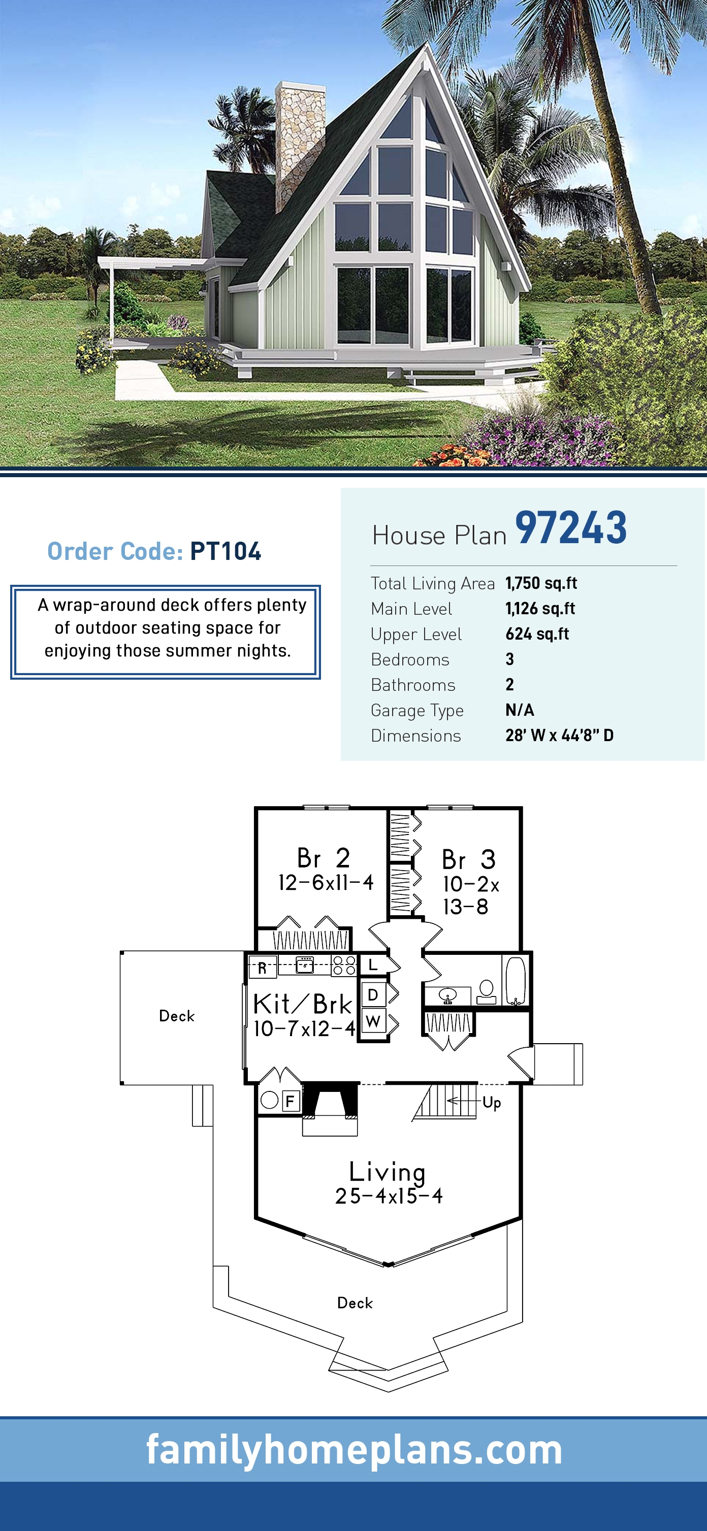 A-Frame , Contemporary House Plan 97243 with 3 Beds, 2 Baths