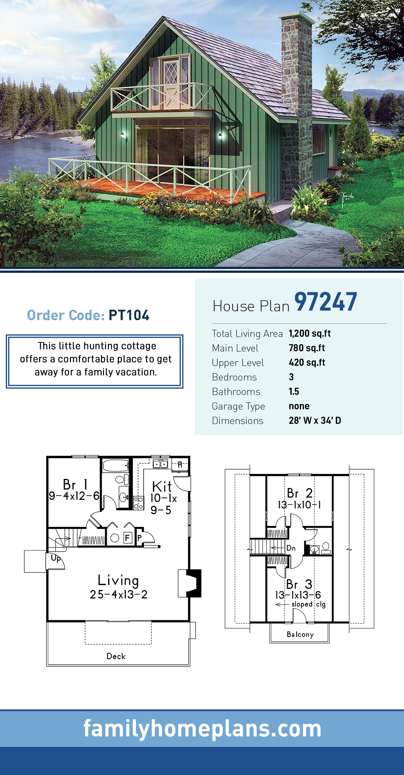 Cabin, Country, Southern, Traditional House Plan 97247 with 3 Beds, 2 Baths