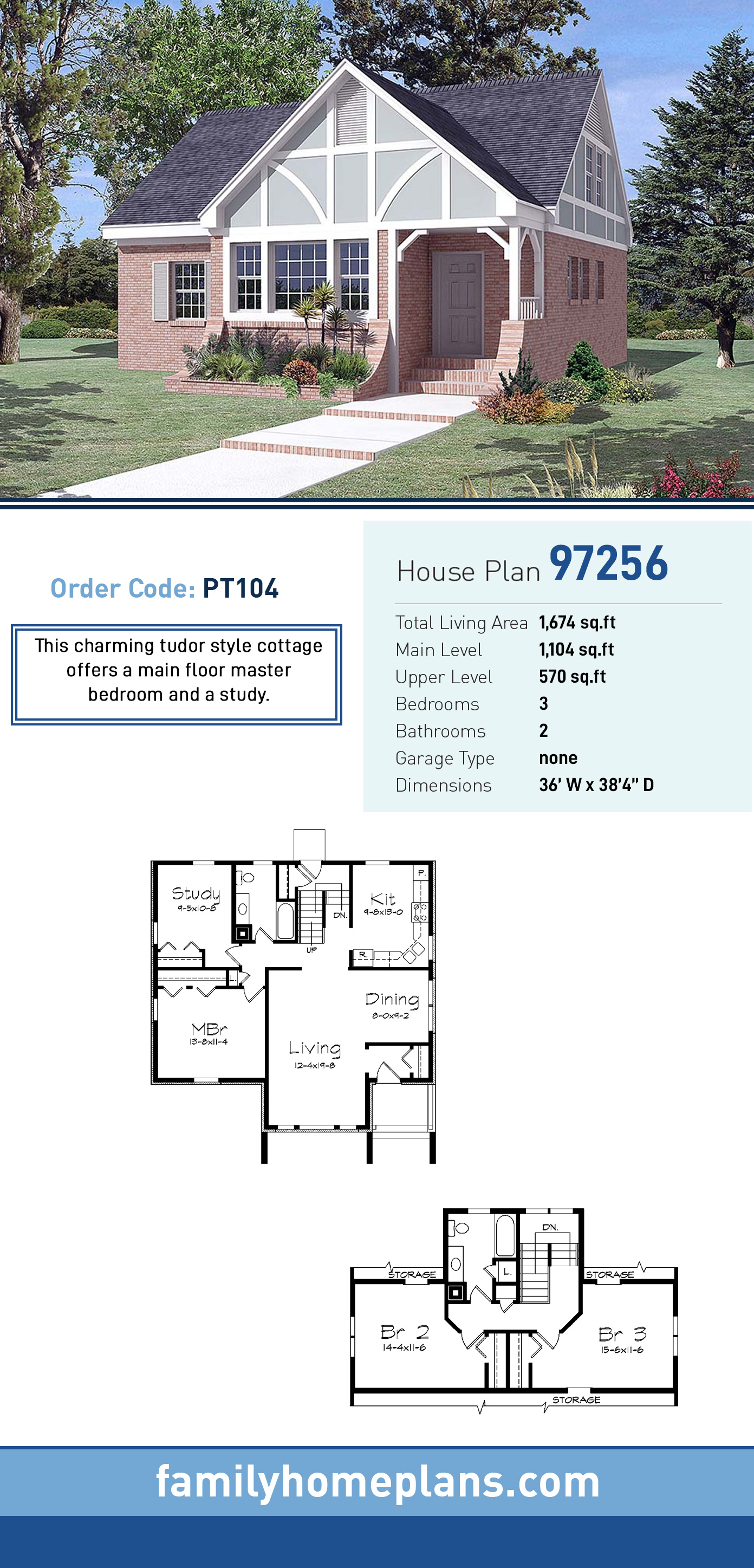 Cottage , Traditional , Tudor House Plan 97256 with 3 Beds, 2 Baths