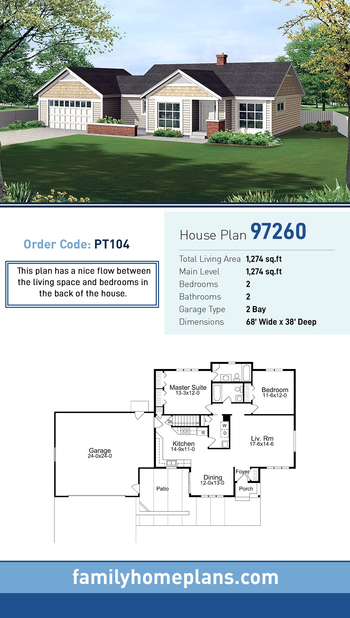 Country, Craftsman, Ranch, Traditional House Plan 97260 with 2 Beds , 2 Baths , 2 Car Garage