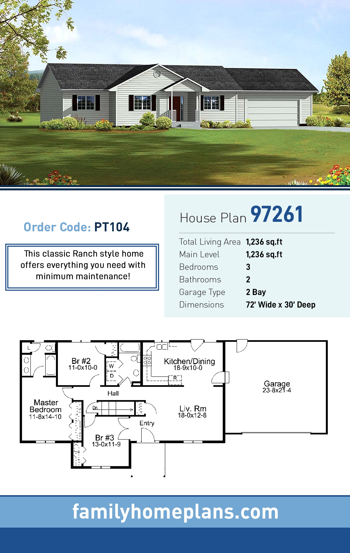 Ranch, Traditional House Plan 97261 with 3 Beds, 2 Baths, 2 Car Garage
