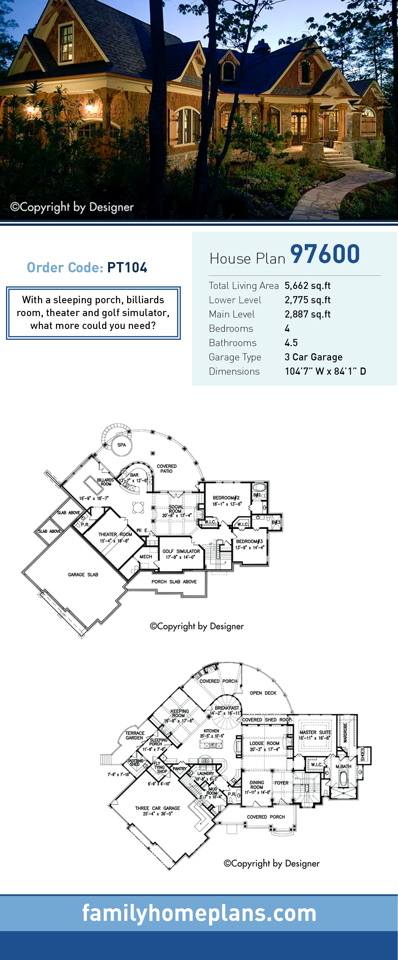 Cottage, Country, Craftsman, Southern House Plan 97600 with 4 Beds, 5 Baths, 3 Car Garage