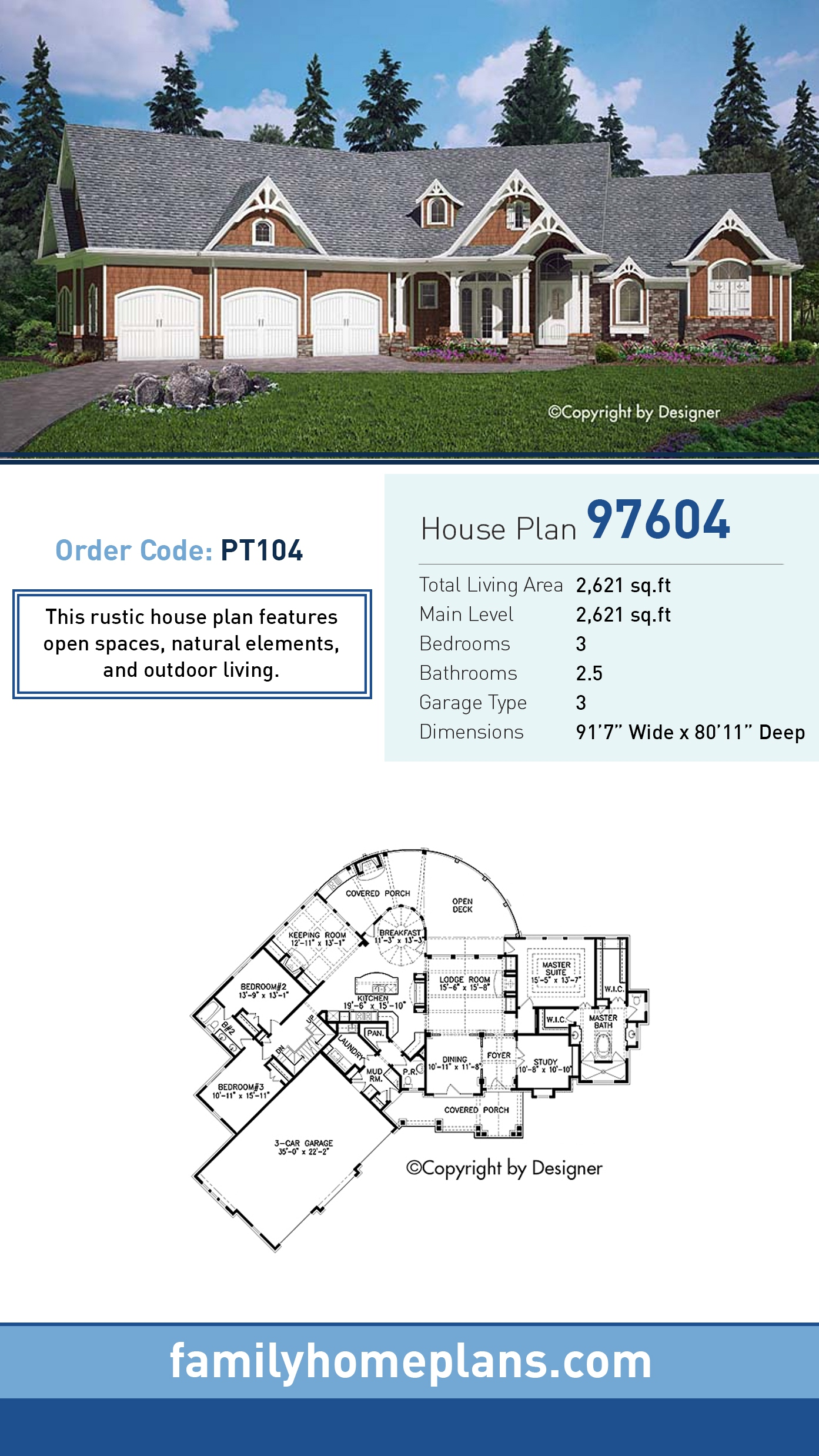 Cottage , Country , Craftsman , Southern House Plan 97604 with 3 Beds, 3 Baths, 3 Car Garage