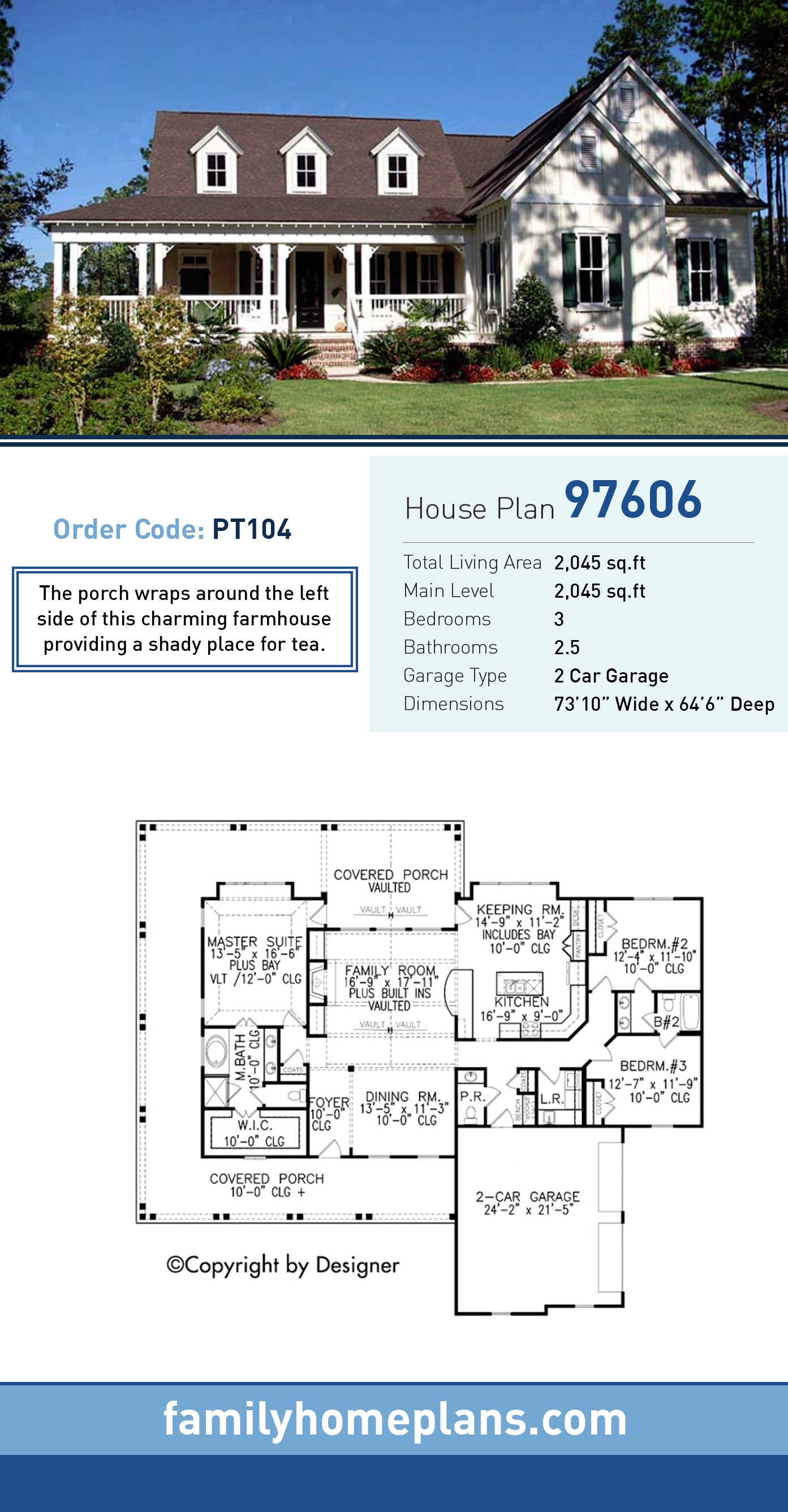 Country, Southern, Traditional House Plan 97606 with 3 Beds, 3 Baths, 2 Car Garage