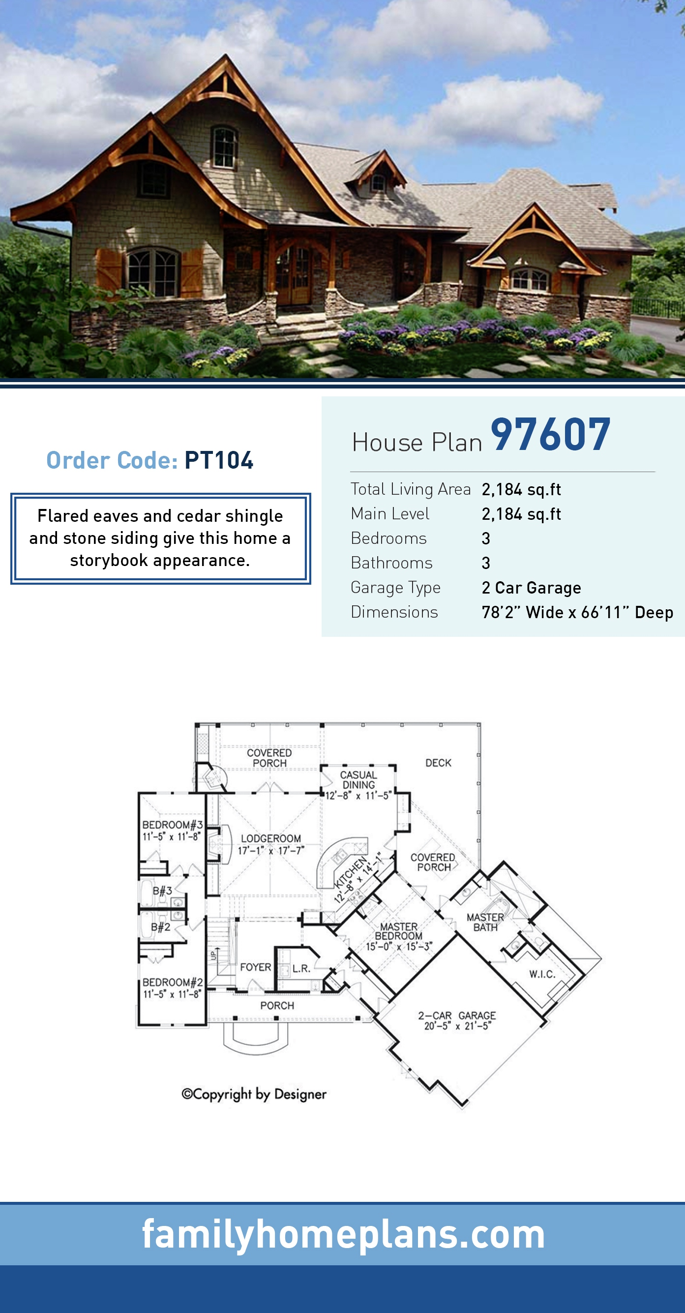 Cottage , Country , Craftsman , European , Tudor House Plan 97607 with 3 Beds, 3 Baths, 2 Car Garage