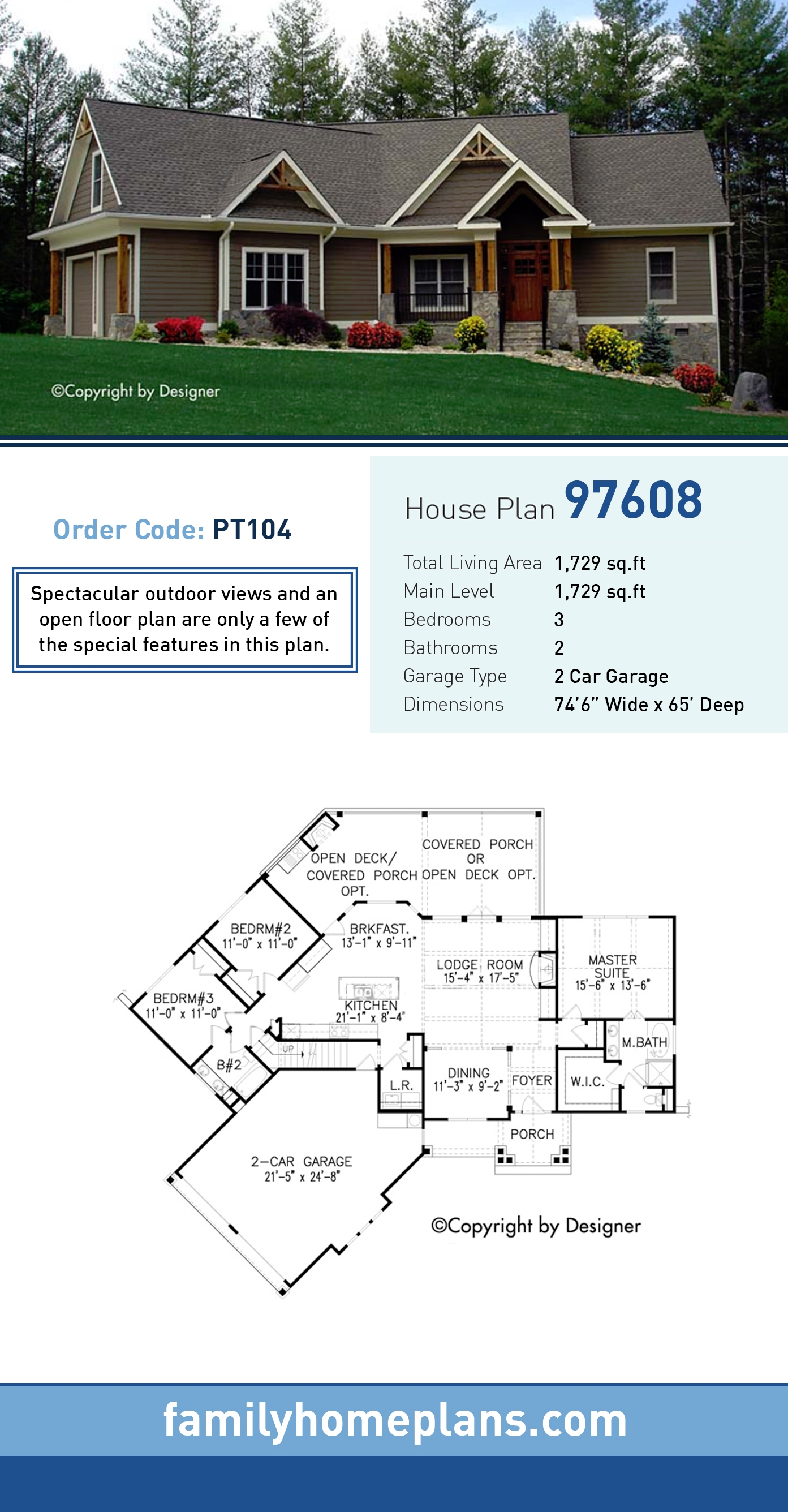 Craftsman , Ranch , Traditional House Plan 97608 with 3 Beds, 2 Baths, 2 Car Garage