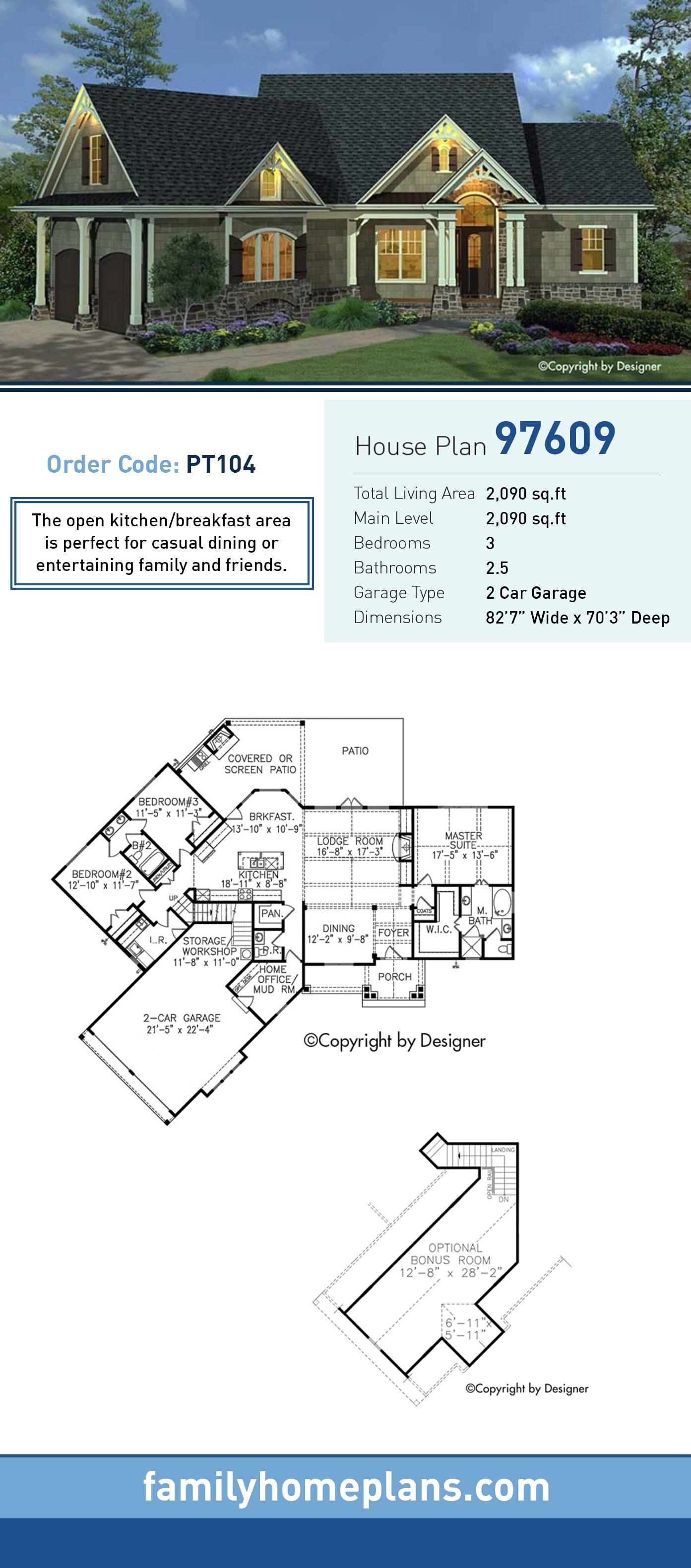 Cottage, Craftsman, European, Southern, Traditional House Plan 97609 with 3 Beds, 3 Baths, 2 Car Garage