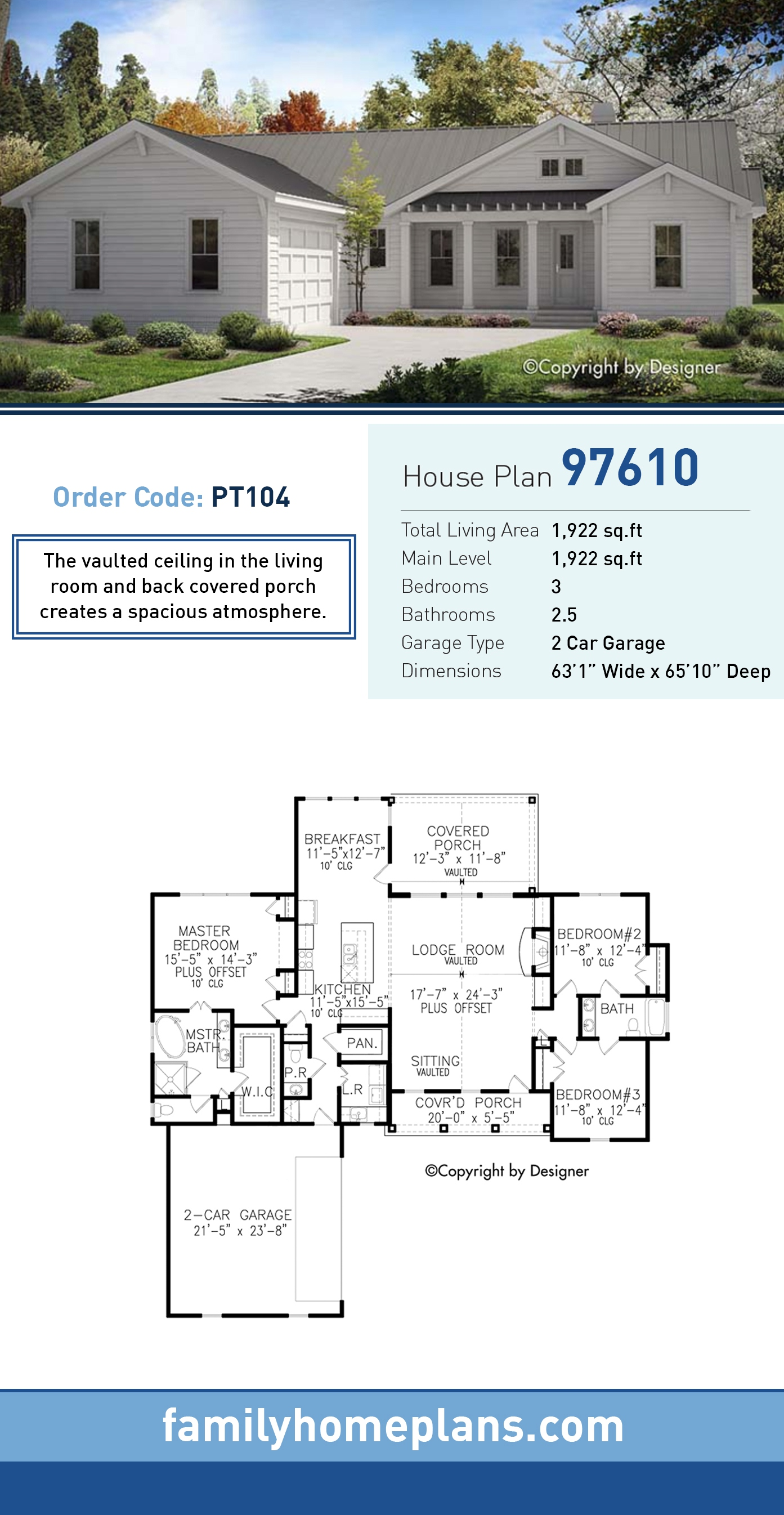 Country , Ranch , Southern , Traditional House Plan 97610 with 3 Beds, 3 Baths, 2 Car Garage