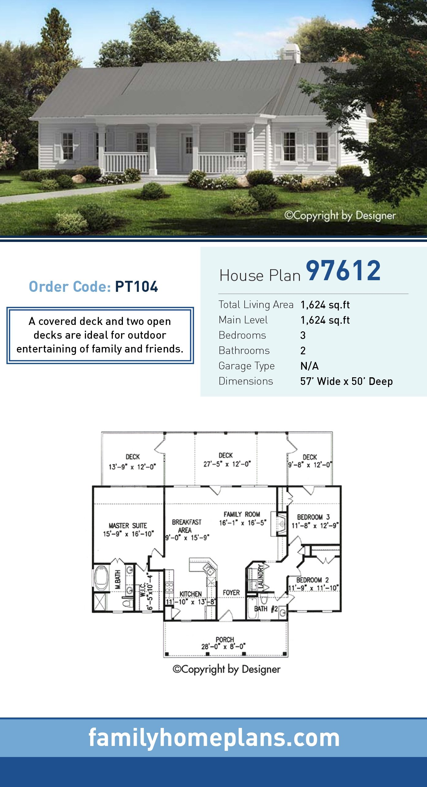 Ranch, Southern, Traditional House Plan 97612 with 3 Beds, 2 Baths