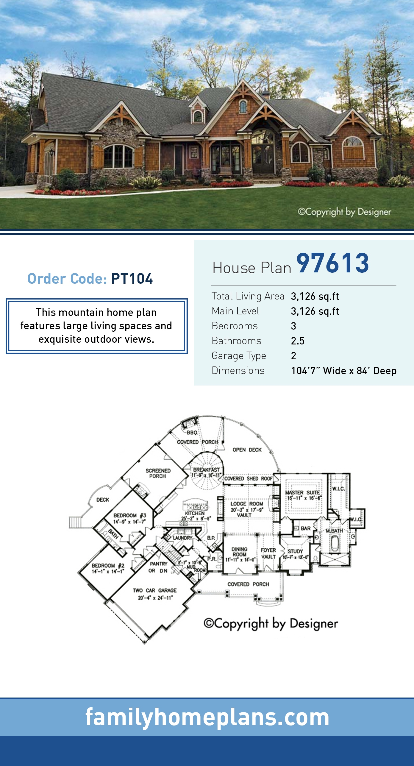Country, Craftsman, Southern, Tudor House Plan 97613 with 3 Beds, 3 Baths, 2 Car Garage