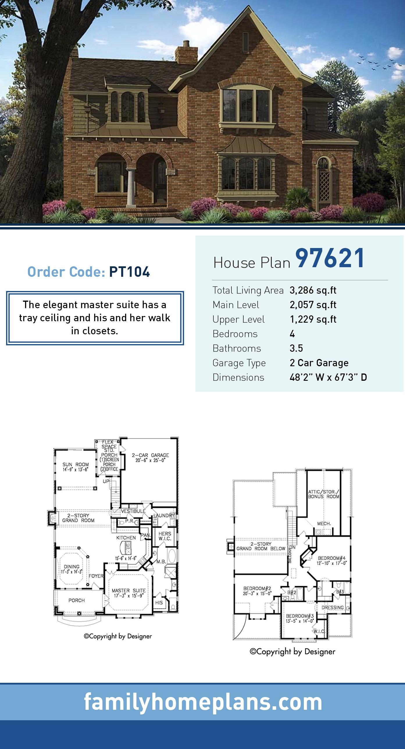 European, Tudor House Plan 97621 with 4 Beds, 4 Baths, 2 Car Garage