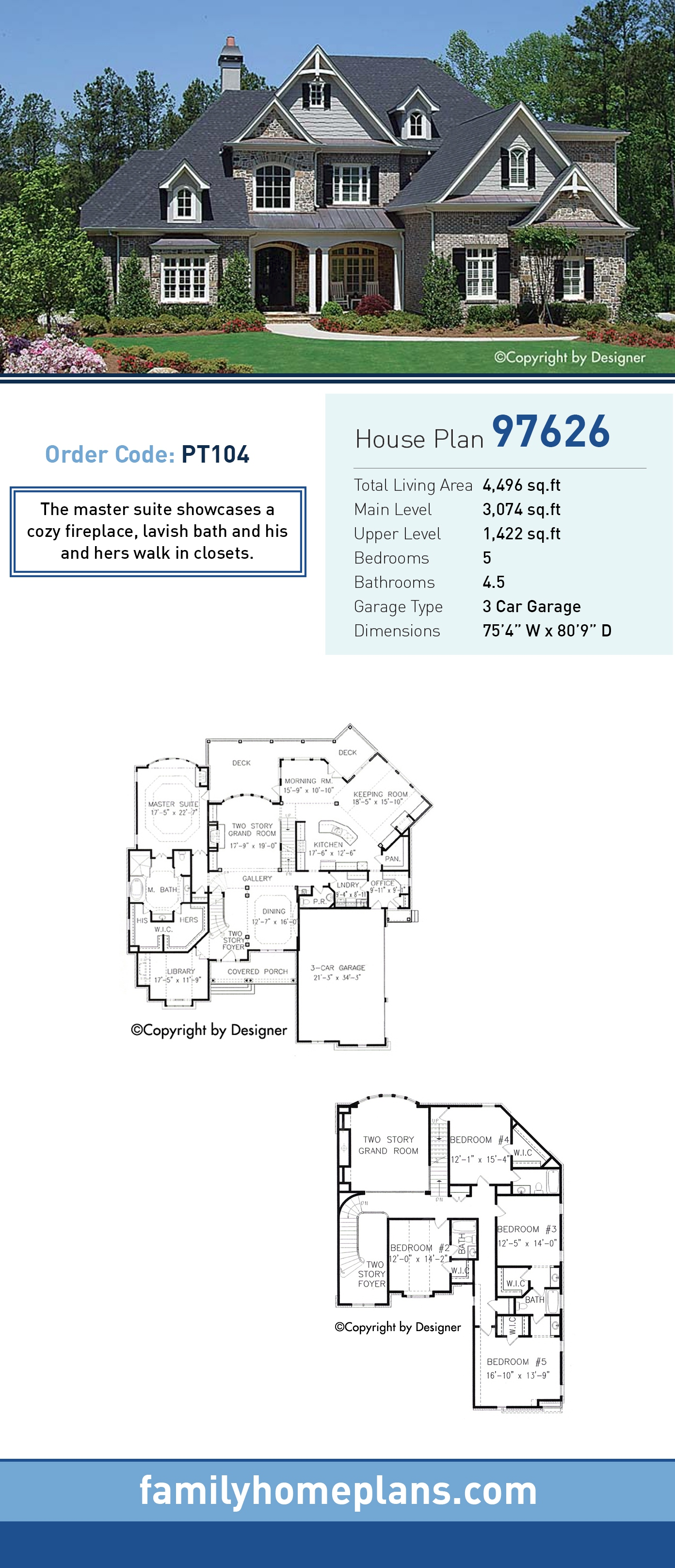 Traditional House Plan 97626 with 5 Beds, 5 Baths, 3 Car Garage