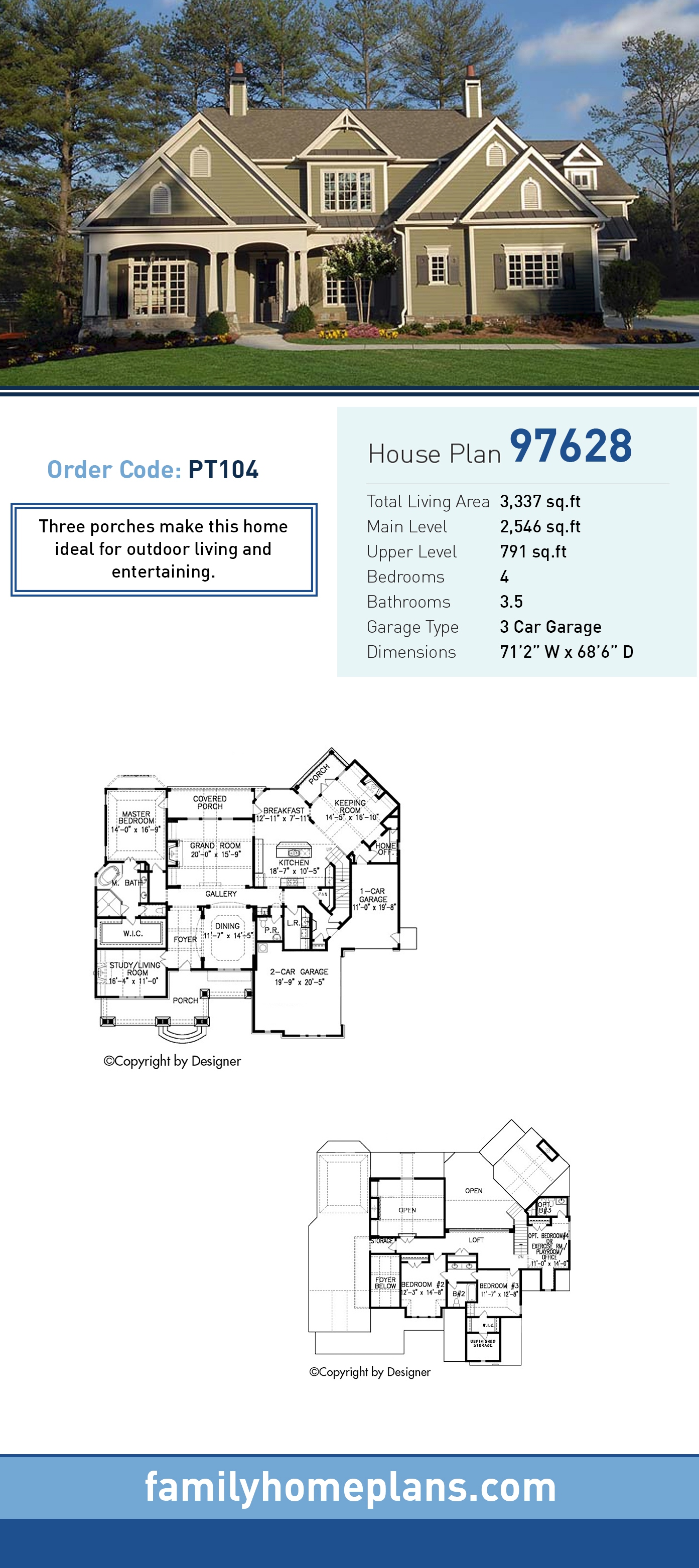 Cottage, Traditional House Plan 97628 with 4 Beds, 4 Baths, 3 Car Garage