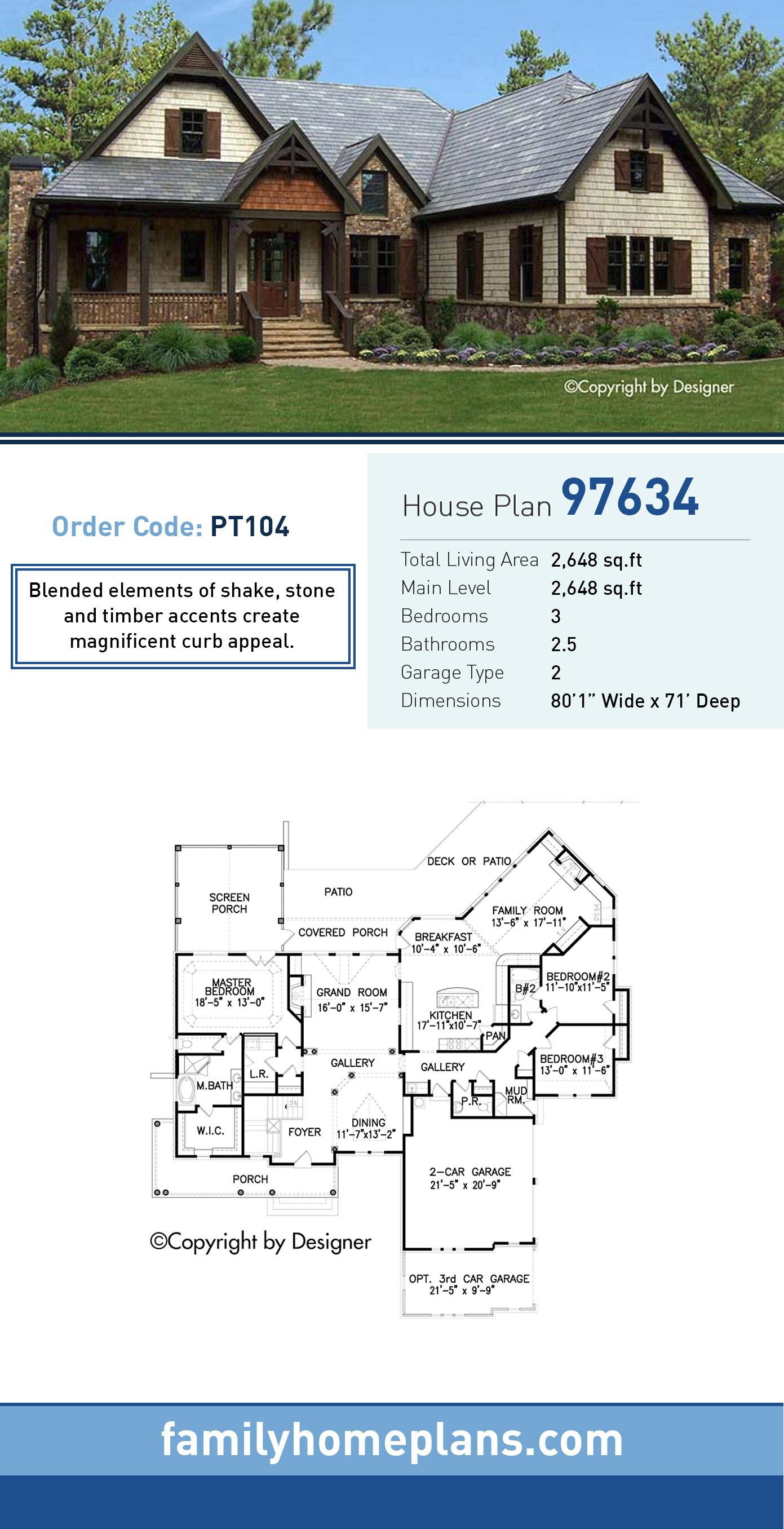 Bungalow, Cottage, Country, Craftsman, Southern, Traditional House Plan 97634 with 3 Beds, 3 Baths, 2 Car Garage