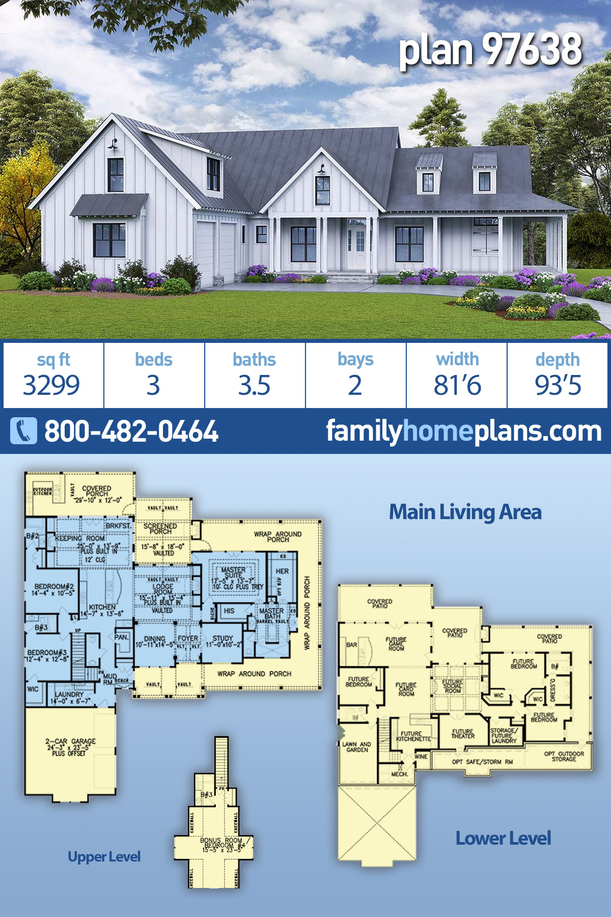 Farmhouse, Ranch House Plan 97638 with 3 Beds, 4 Baths, 2 Car Garage